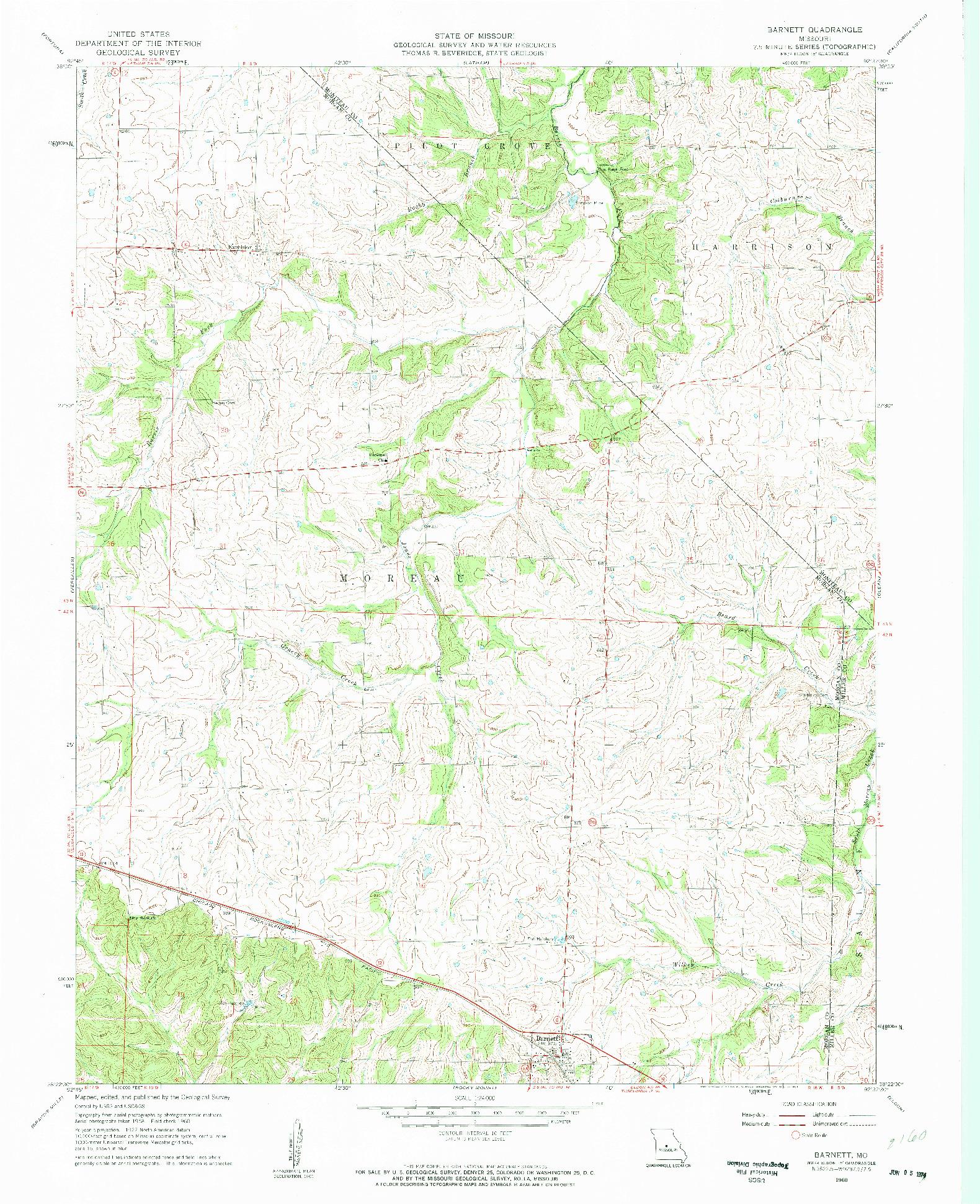 USGS 1:24000-SCALE QUADRANGLE FOR BARNETT, MO 1960