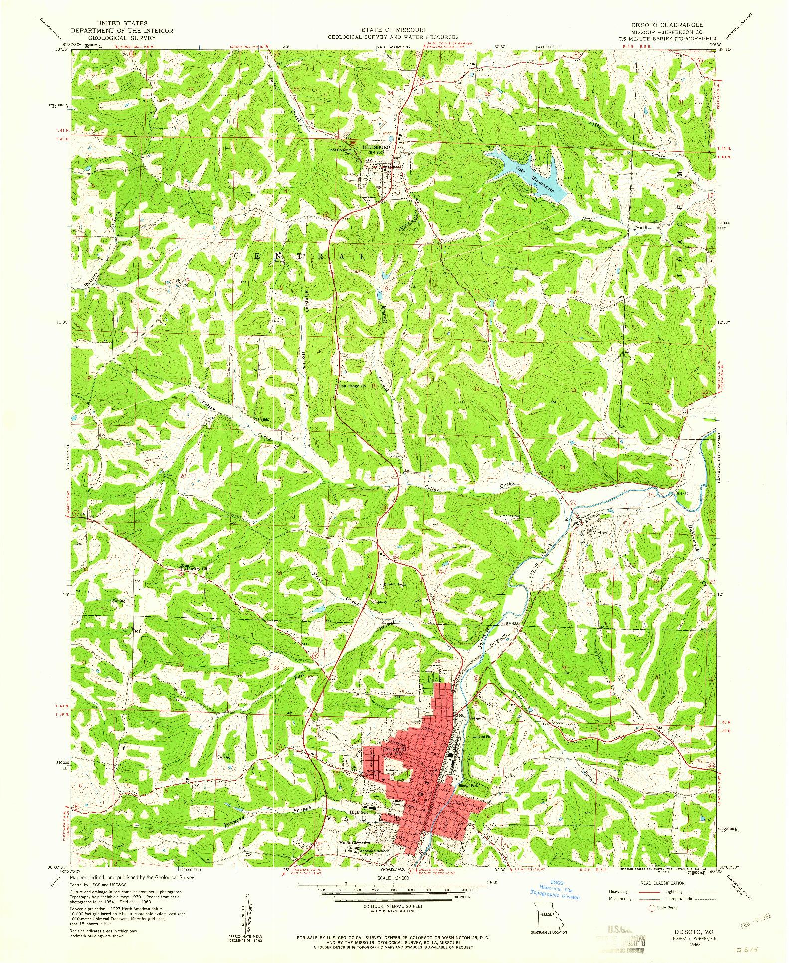 USGS 1:24000-SCALE QUADRANGLE FOR DE SOTO, MO 1960