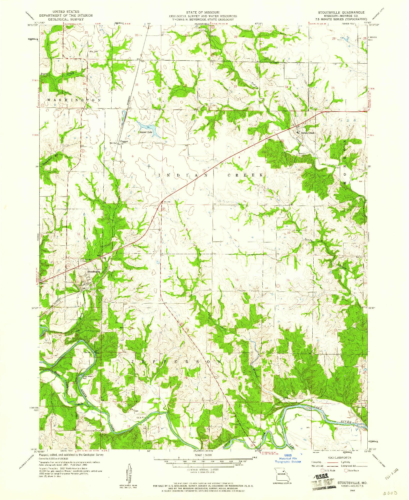 USGS 1:24000-SCALE QUADRANGLE FOR STOUTSVILLE, MO 1960