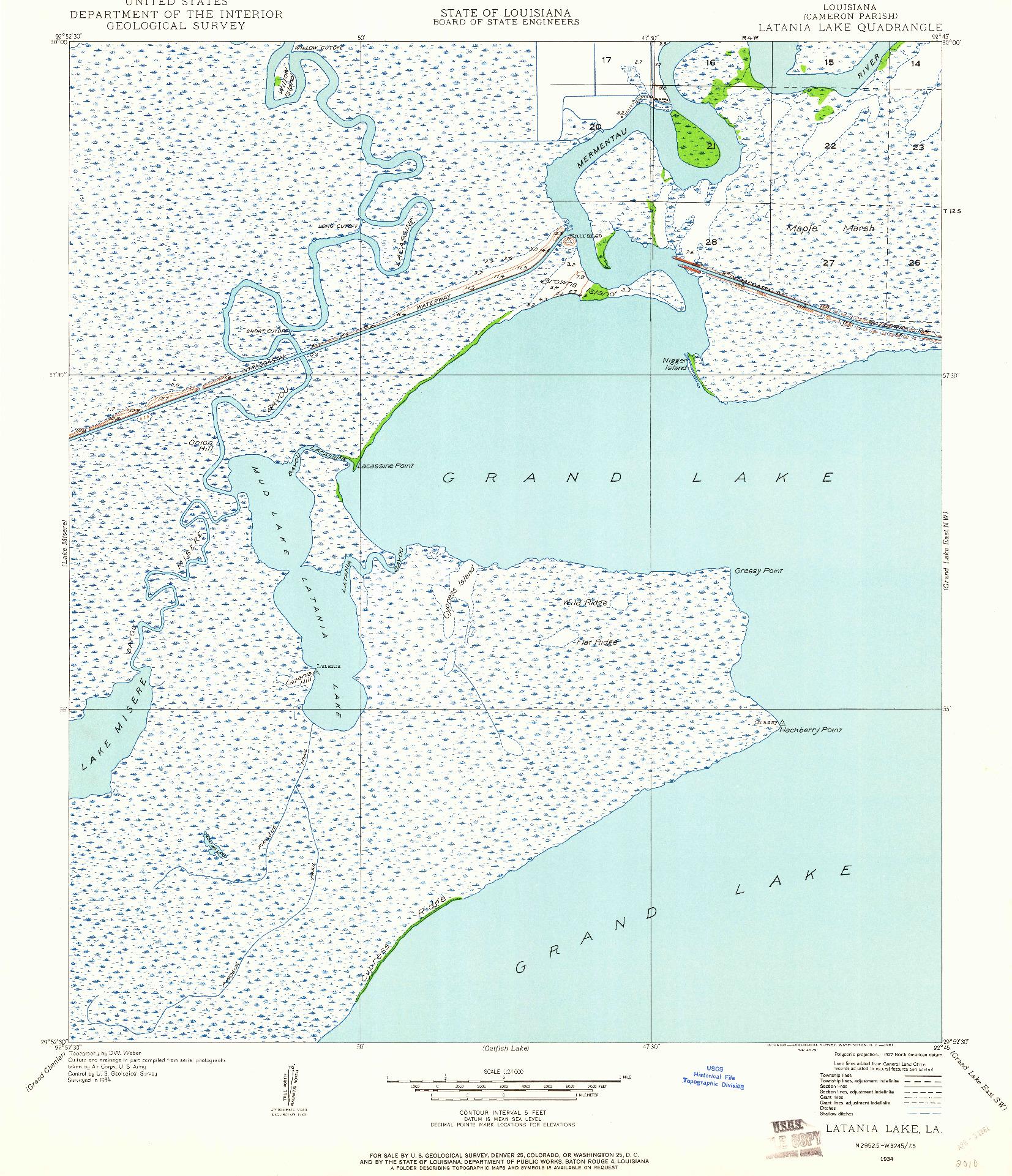 USGS 1:24000-SCALE QUADRANGLE FOR LATANIA LAKE, LA 1934