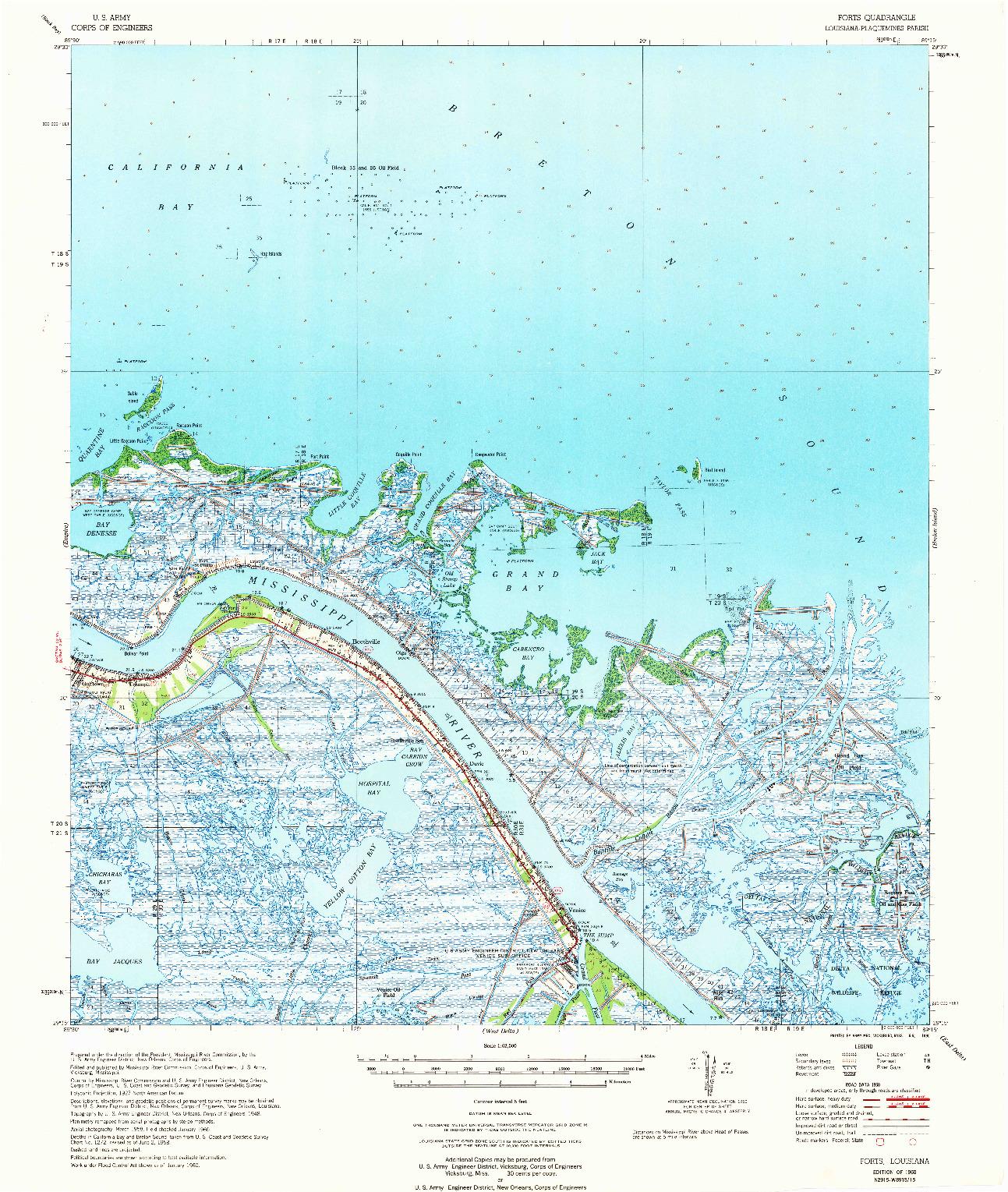 USGS 1:62500-SCALE QUADRANGLE FOR FORTS, LA 1960