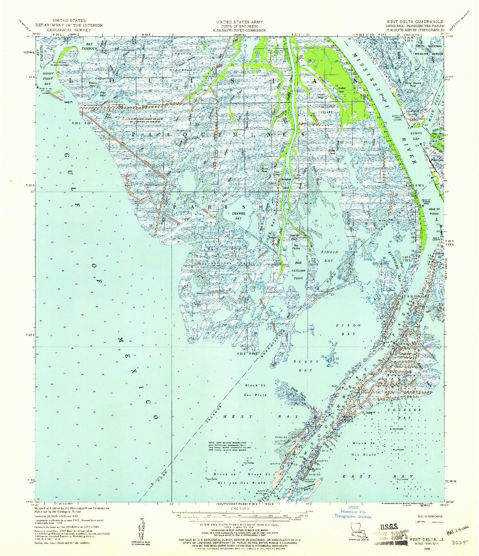USGS 1:62500-SCALE QUADRANGLE FOR WEST DELTA, LA 1958