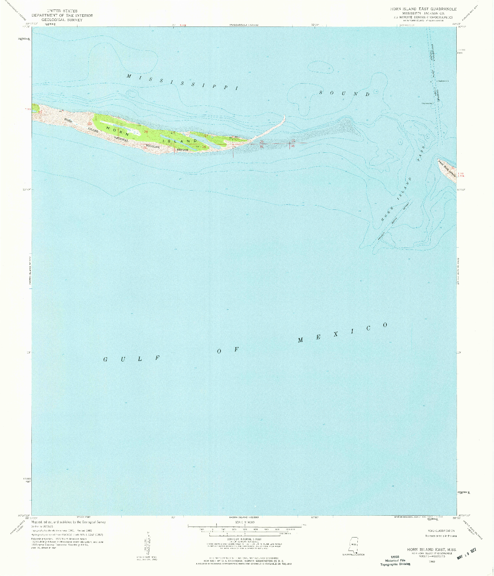 USGS 1:24000-SCALE QUADRANGLE FOR HORN ISLAND EAST, MS 1960