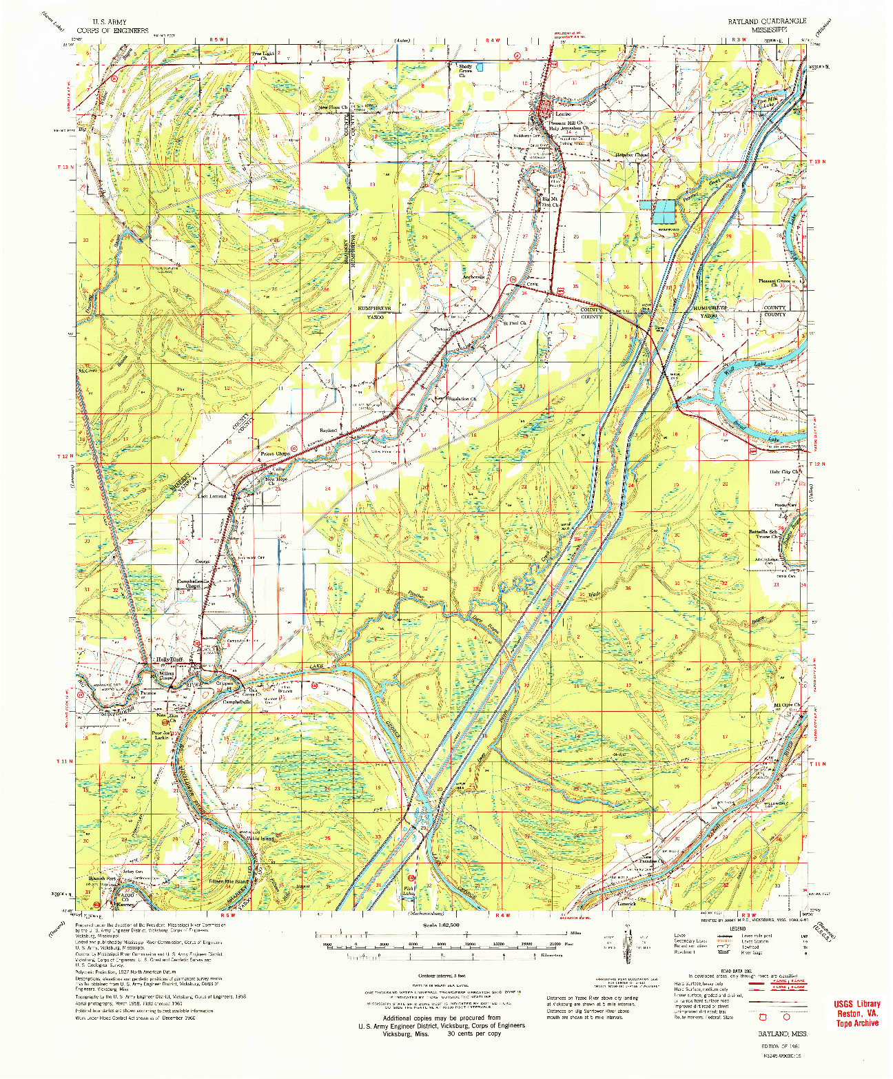 USGS 1:62500-SCALE QUADRANGLE FOR BAYLAND, MS 1961