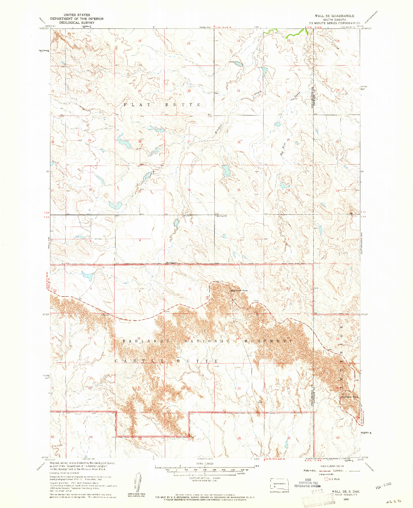 USGS 1:24000-SCALE QUADRANGLE FOR WALL SE, SD 1960