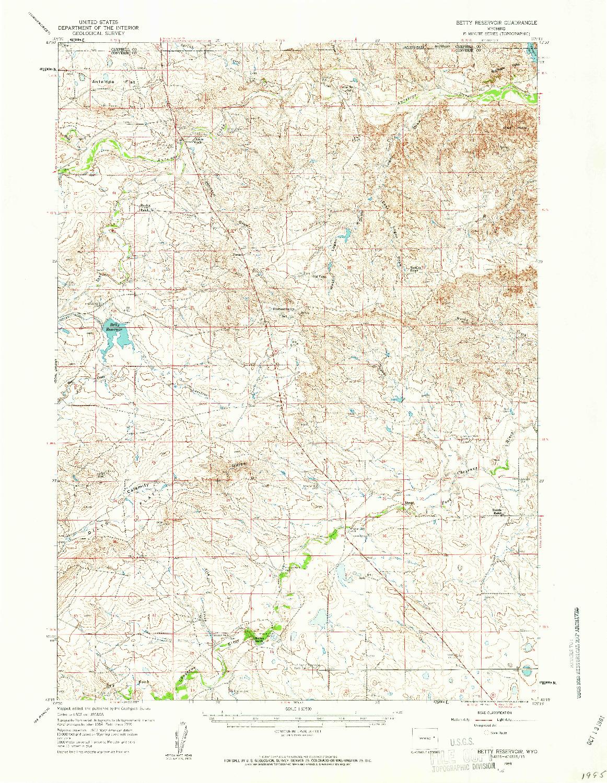USGS 1:62500-SCALE QUADRANGLE FOR BETTY RESERVOIR, WY 1959