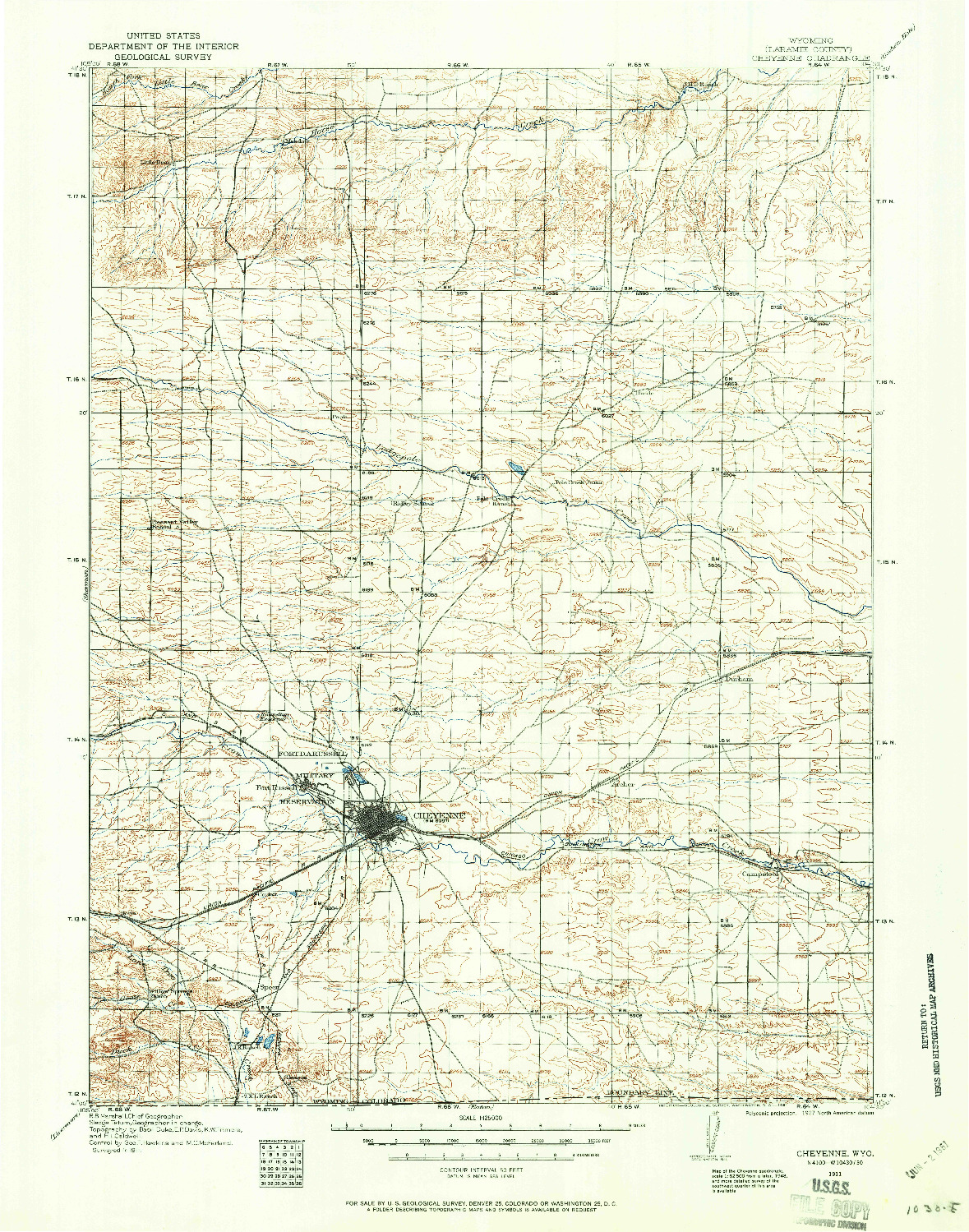 USGS 1:125000-SCALE QUADRANGLE FOR CHEYENNE, WY 1911
