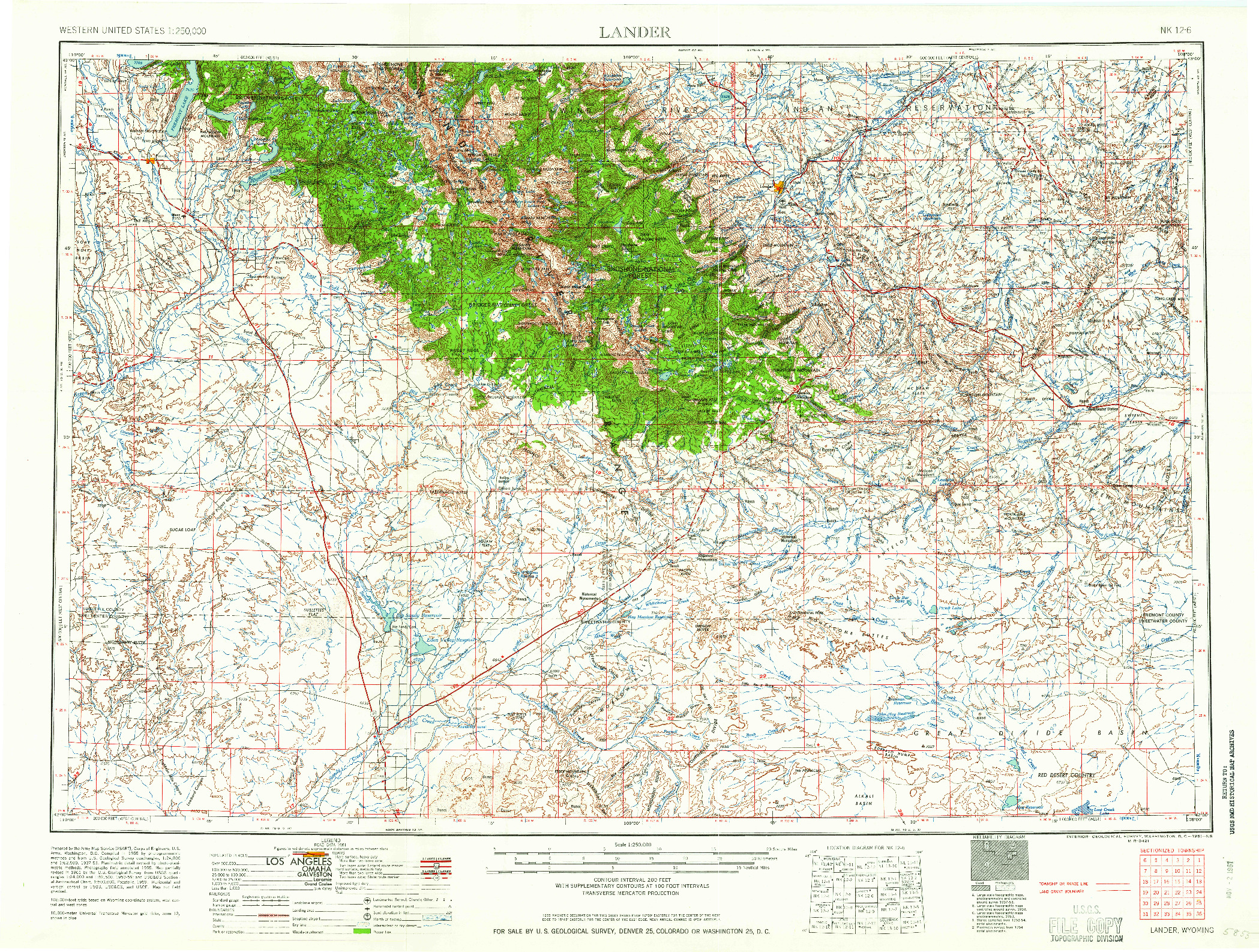 USGS 1:250000-SCALE QUADRANGLE FOR LANDER, WY 1961