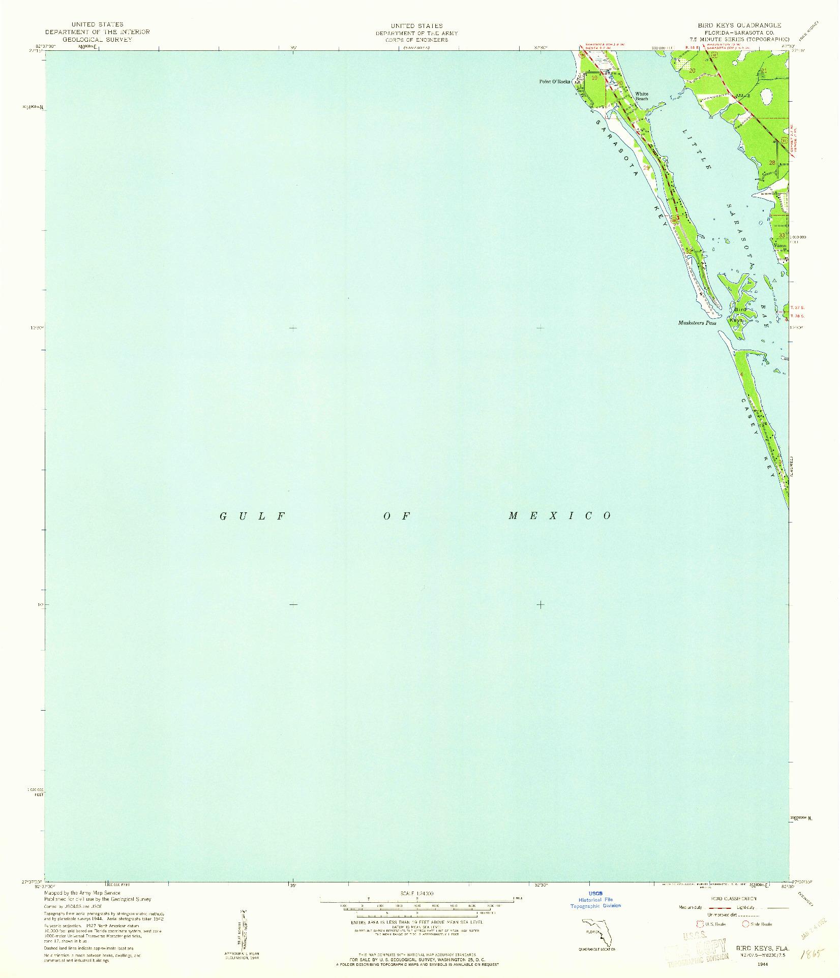 USGS 1:24000-SCALE QUADRANGLE FOR BIRD KEYS, FL 1944