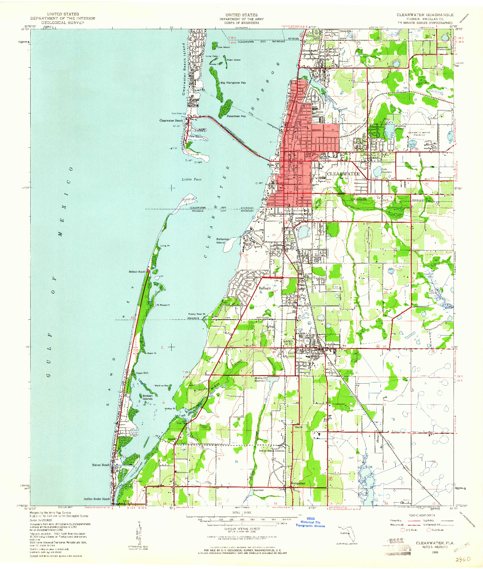 USGS 1:24000-SCALE QUADRANGLE FOR CLEARWATER, FL 1943