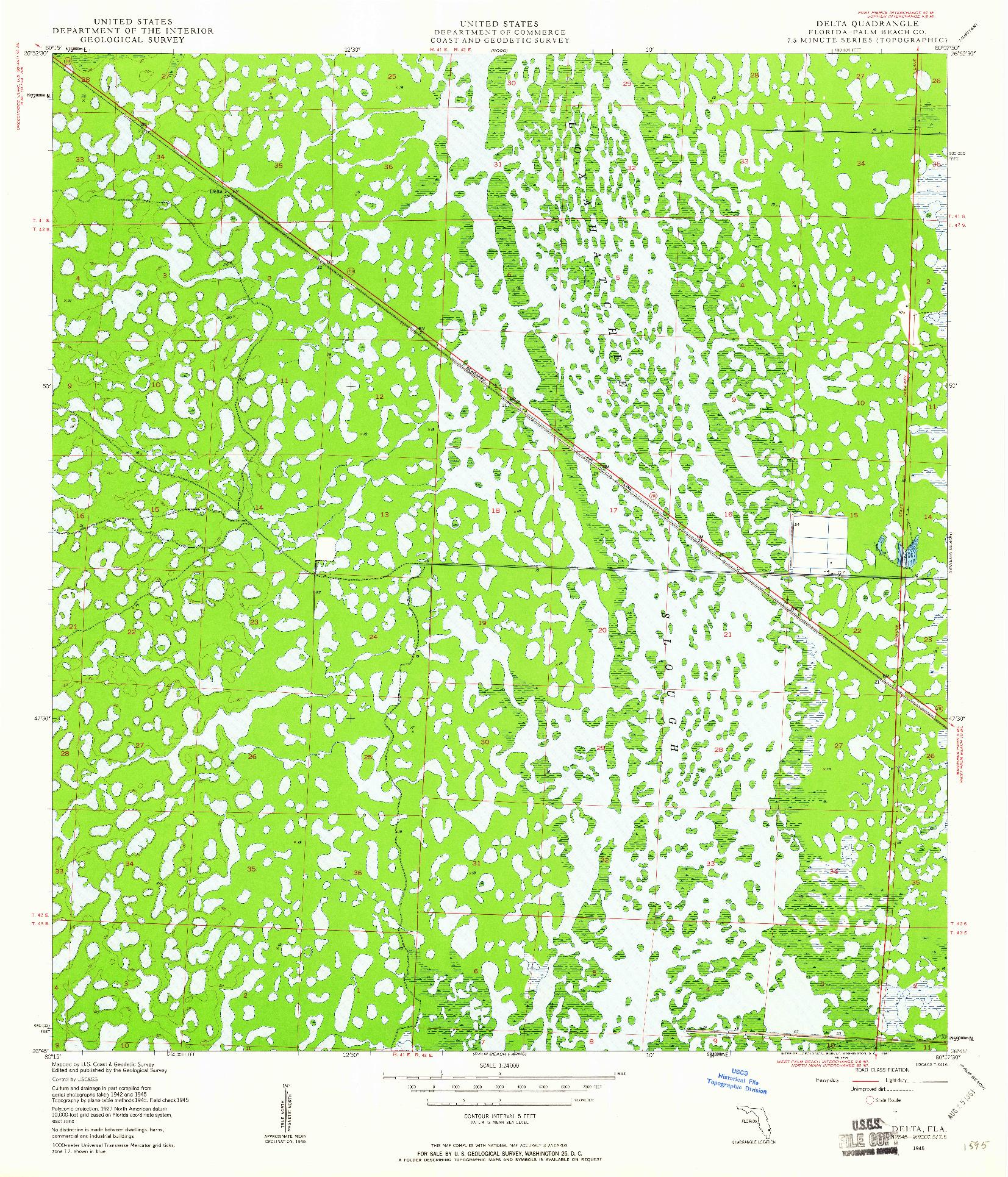 USGS 1:24000-SCALE QUADRANGLE FOR DELTA, FL 1945