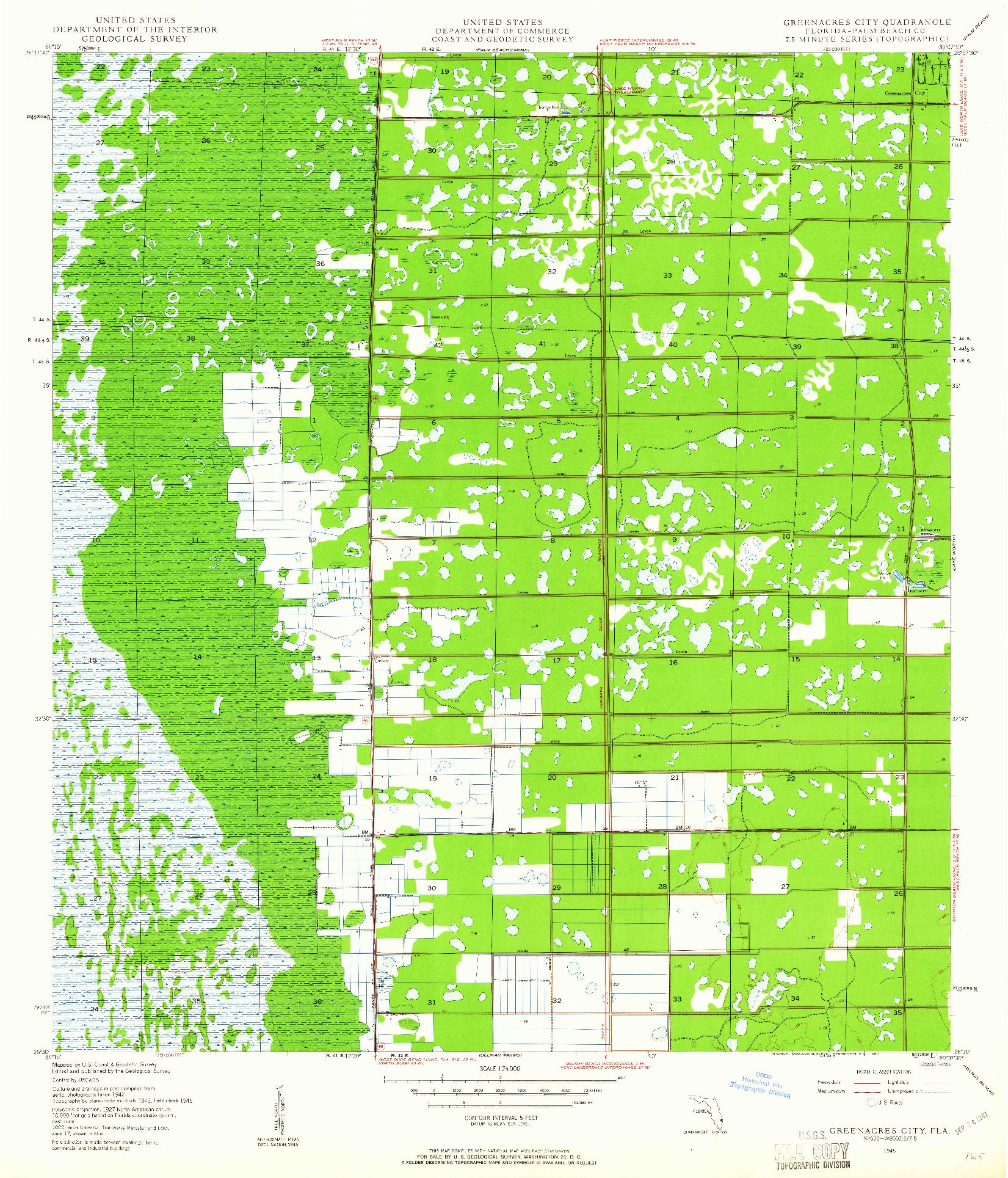 USGS 1:24000-SCALE QUADRANGLE FOR GREENACRES CITY, FL 1945