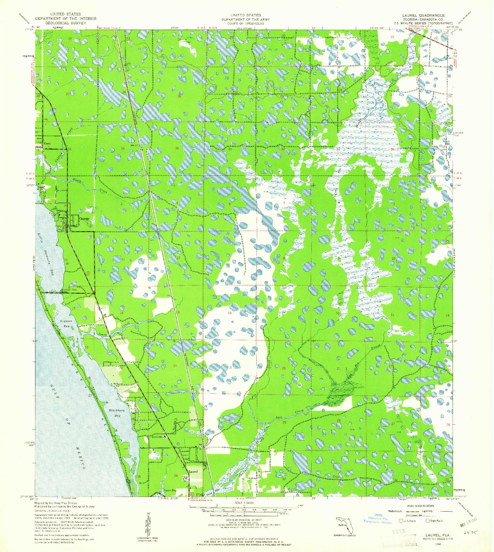 USGS 1:24000-SCALE QUADRANGLE FOR LAUREL, FL 1943