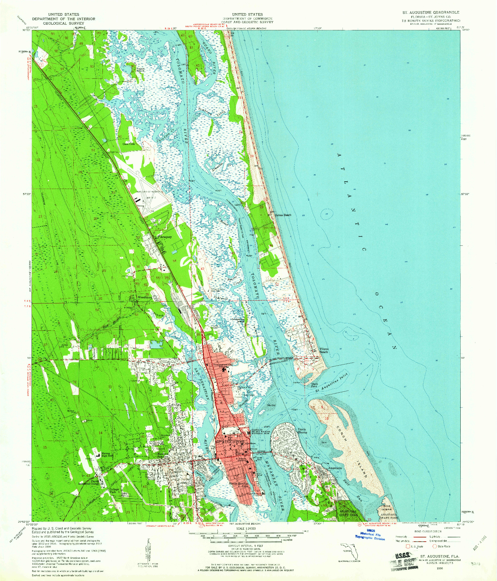 USGS 1:24000-SCALE QUADRANGLE FOR ST. AUGUSTINE, FL 1956