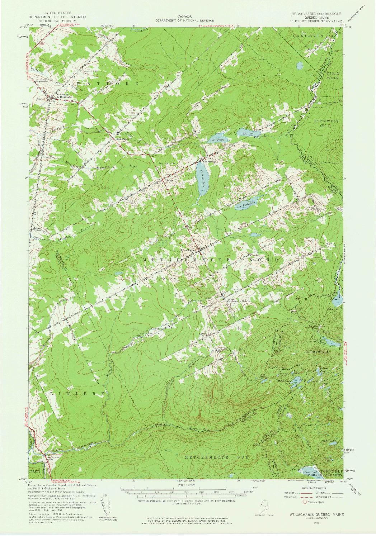 USGS 1:62500-SCALE QUADRANGLE FOR SAINT ZACHARIE, ME 1957