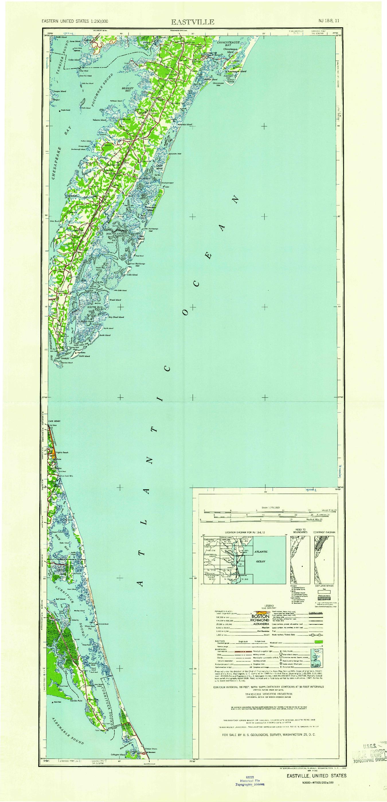 USGS 1:250000-SCALE QUADRANGLE FOR EASTVILLE, VA 1961