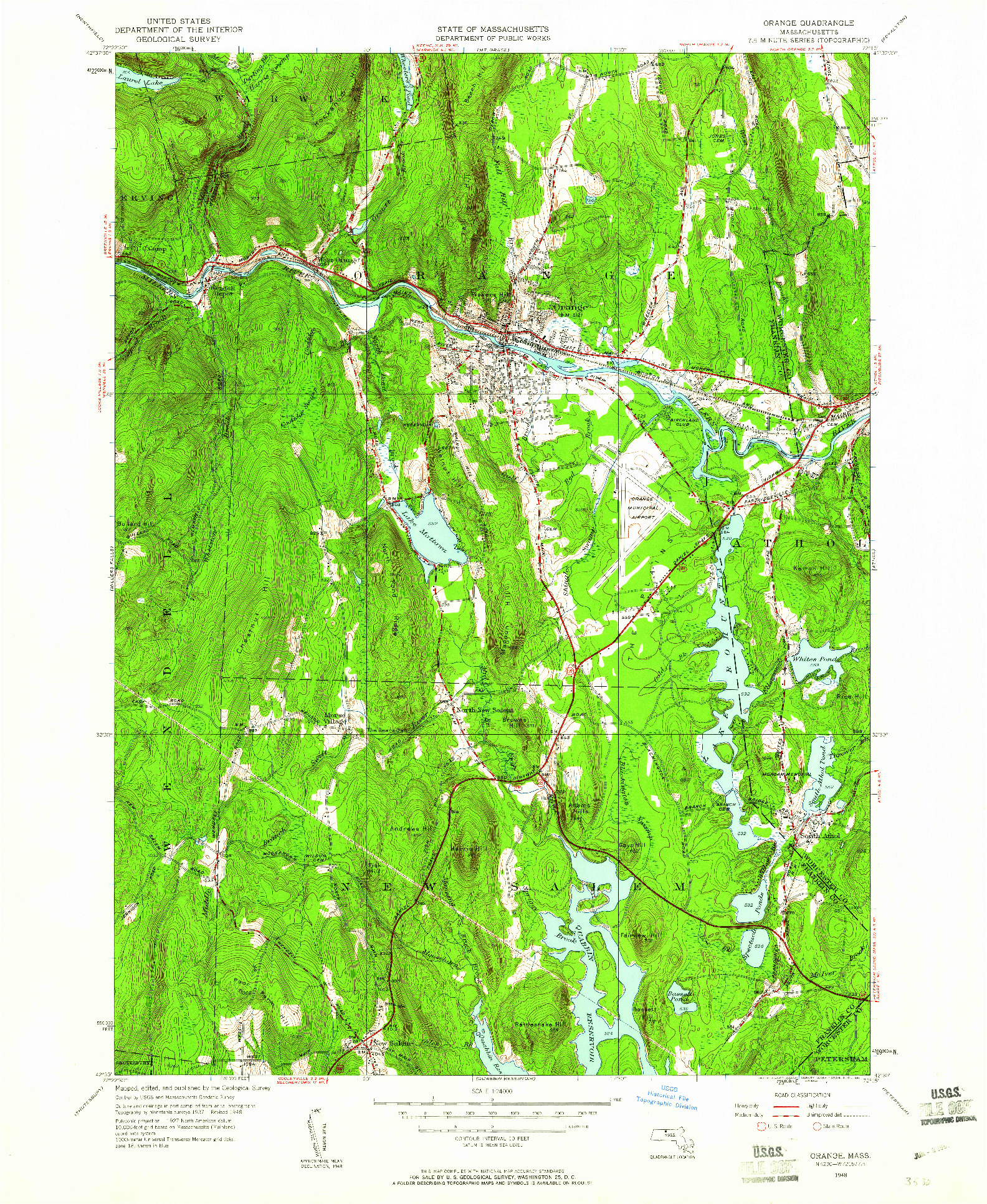 USGS 1:24000-SCALE QUADRANGLE FOR ORANGE, MA 1948
