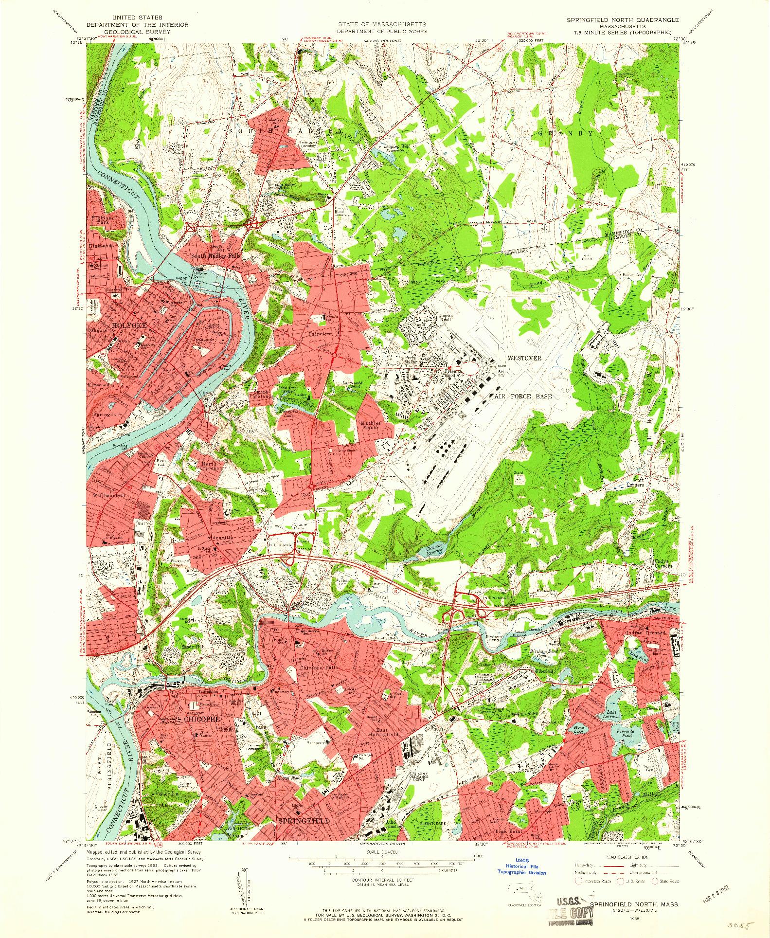 USGS 1:24000-SCALE QUADRANGLE FOR SPRINGFIELD NORTH, MA 1958
