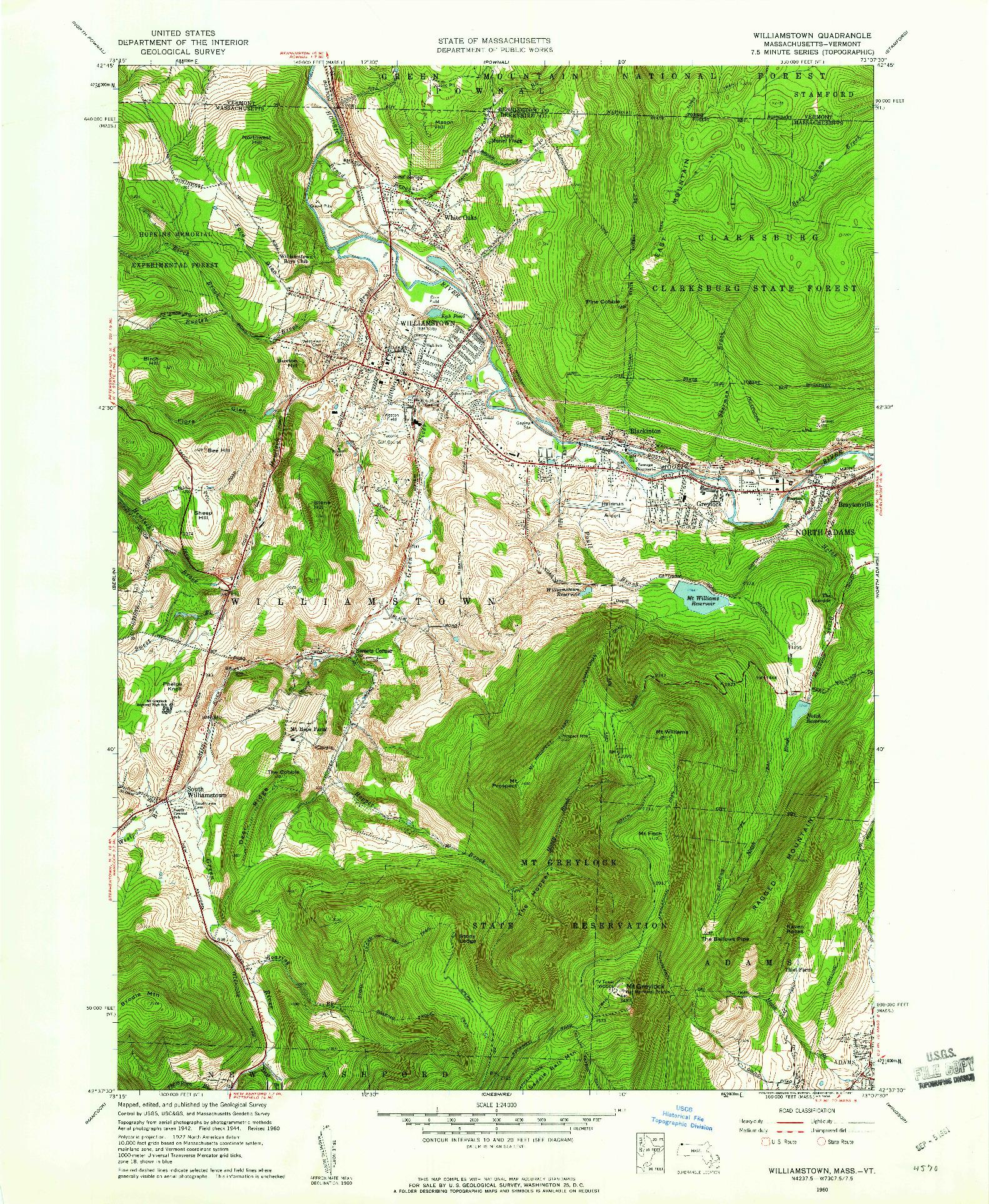 USGS 1:24000-SCALE QUADRANGLE FOR WILLIAMSTOWN, MA 1960