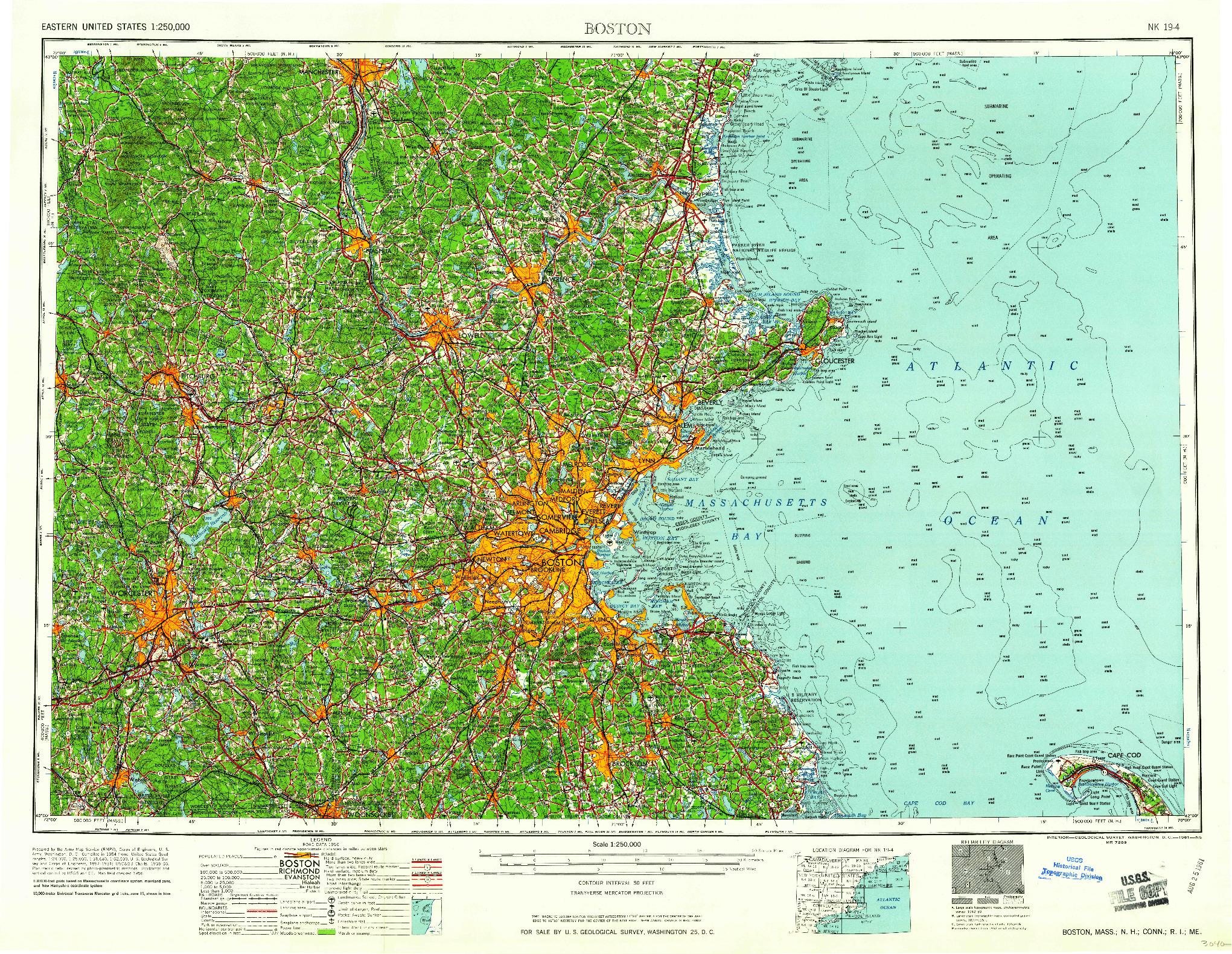 USGS 1:250000-SCALE QUADRANGLE FOR BOSTON, MA 1961