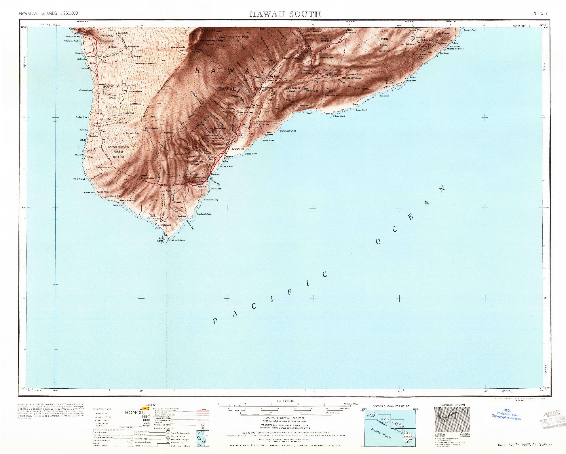 USGS 1:250000-SCALE QUADRANGLE FOR HAWAII SOUTH, HI 1961