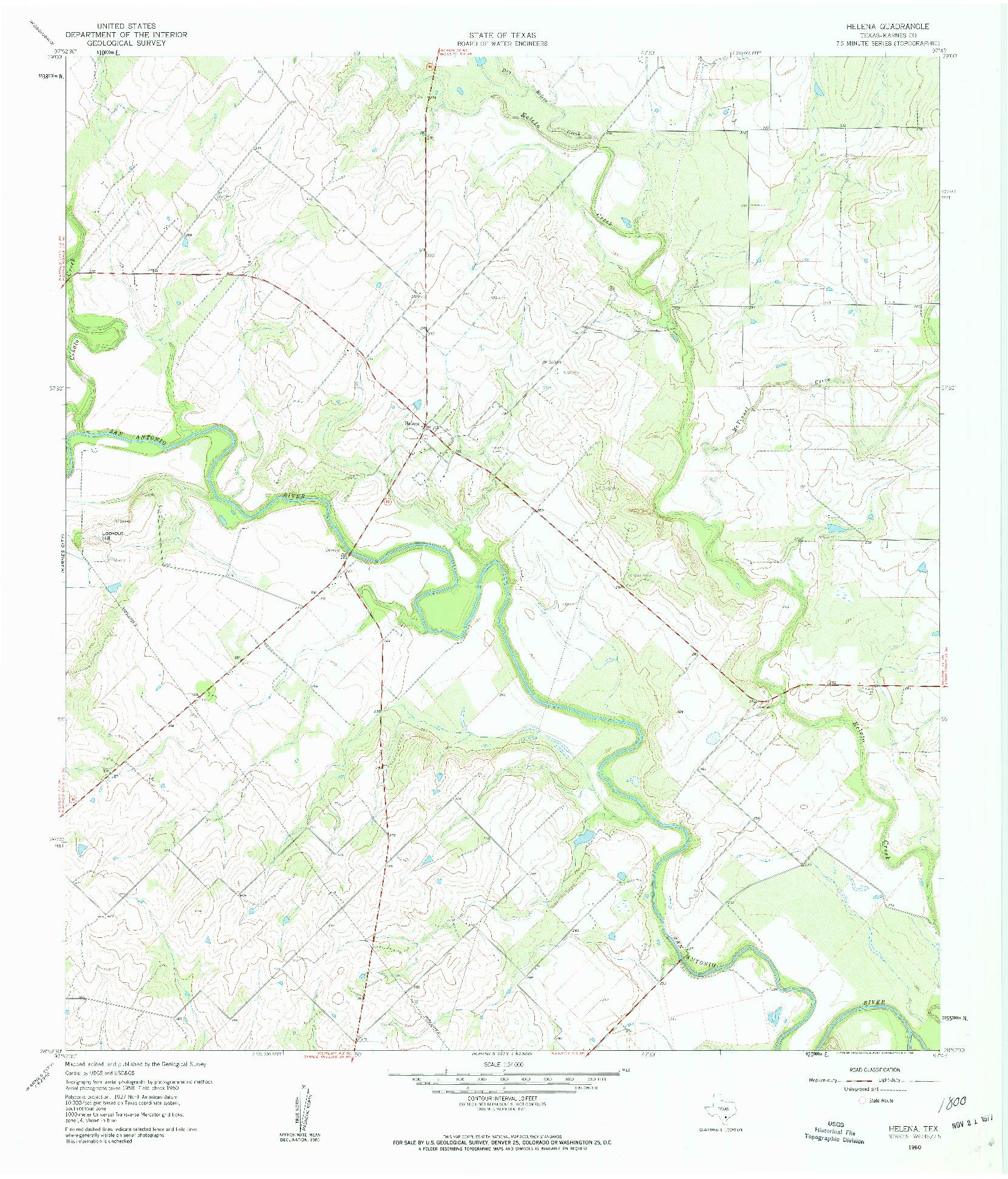 USGS 1:24000-SCALE QUADRANGLE FOR HELENA, TX 1960