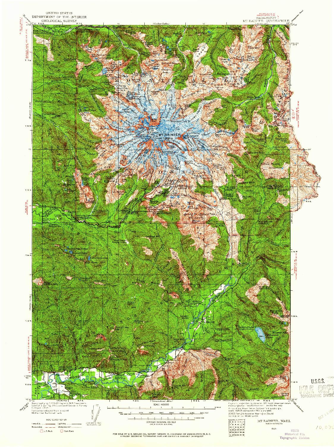 USGS 1:125000-SCALE QUADRANGLE FOR MT RAINIER, WA 1924