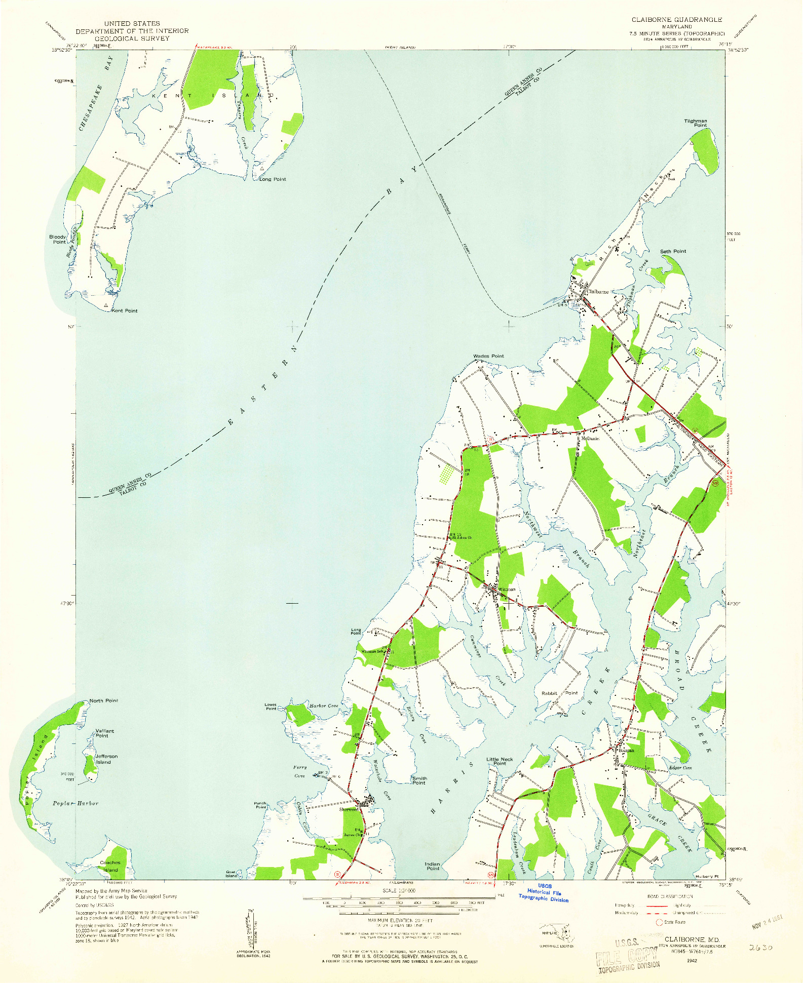 USGS 1:24000-SCALE QUADRANGLE FOR CLAIBORNE, MD 1942