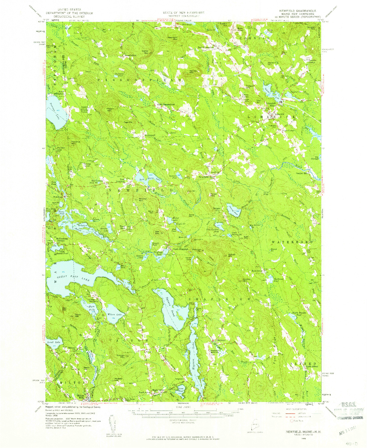 USGS 1:62500-SCALE QUADRANGLE FOR NEWFIELD, ME 1958