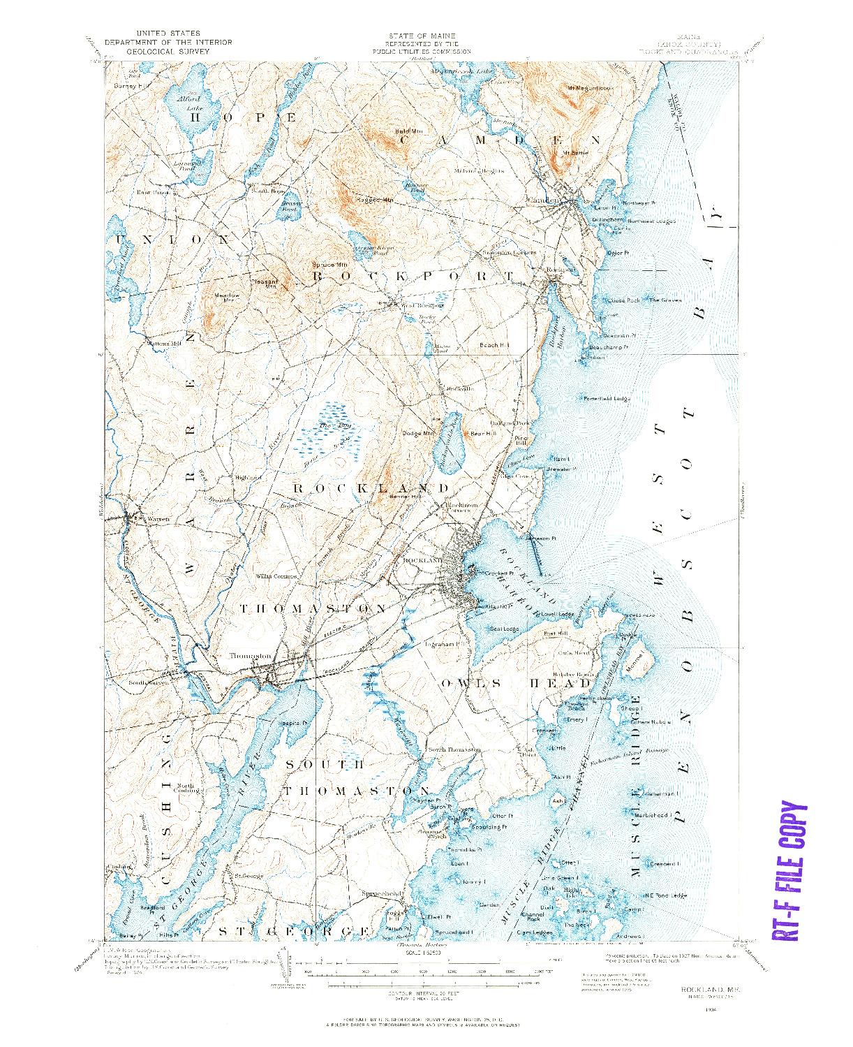 USGS 1:62500-SCALE QUADRANGLE FOR ROCKLAND, ME 1904