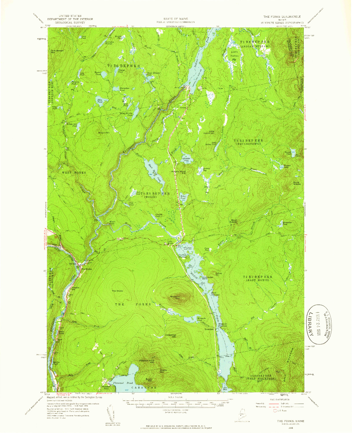 USGS 1:62500-SCALE QUADRANGLE FOR THE FORKS, ME 1956
