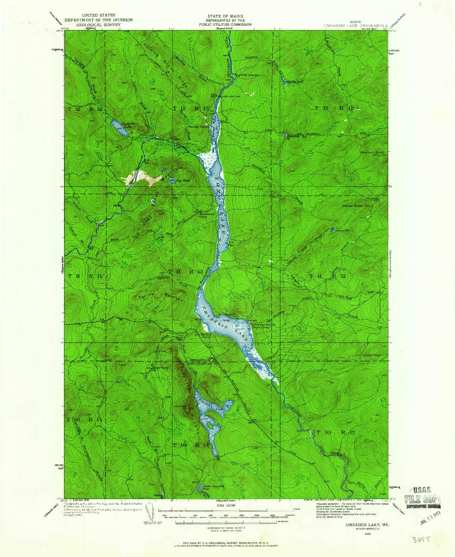 USGS 1:62500-SCALE QUADRANGLE FOR UMSASKIS LAKE, ME 1932