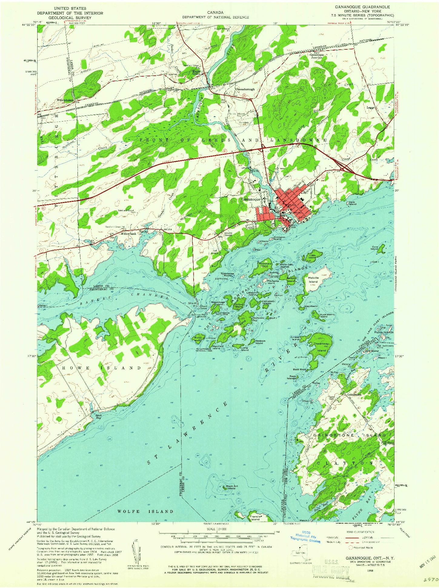 USGS 1:24000-SCALE QUADRANGLE FOR GANANOQUE, NY 1958