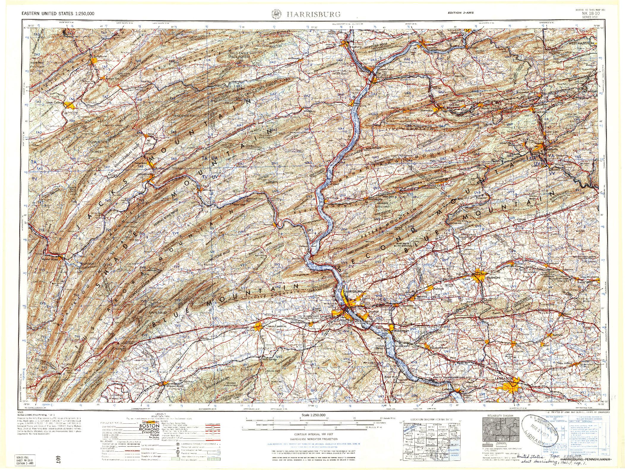 USGS 1:250000-SCALE QUADRANGLE FOR HARRISBURG, PA 1961