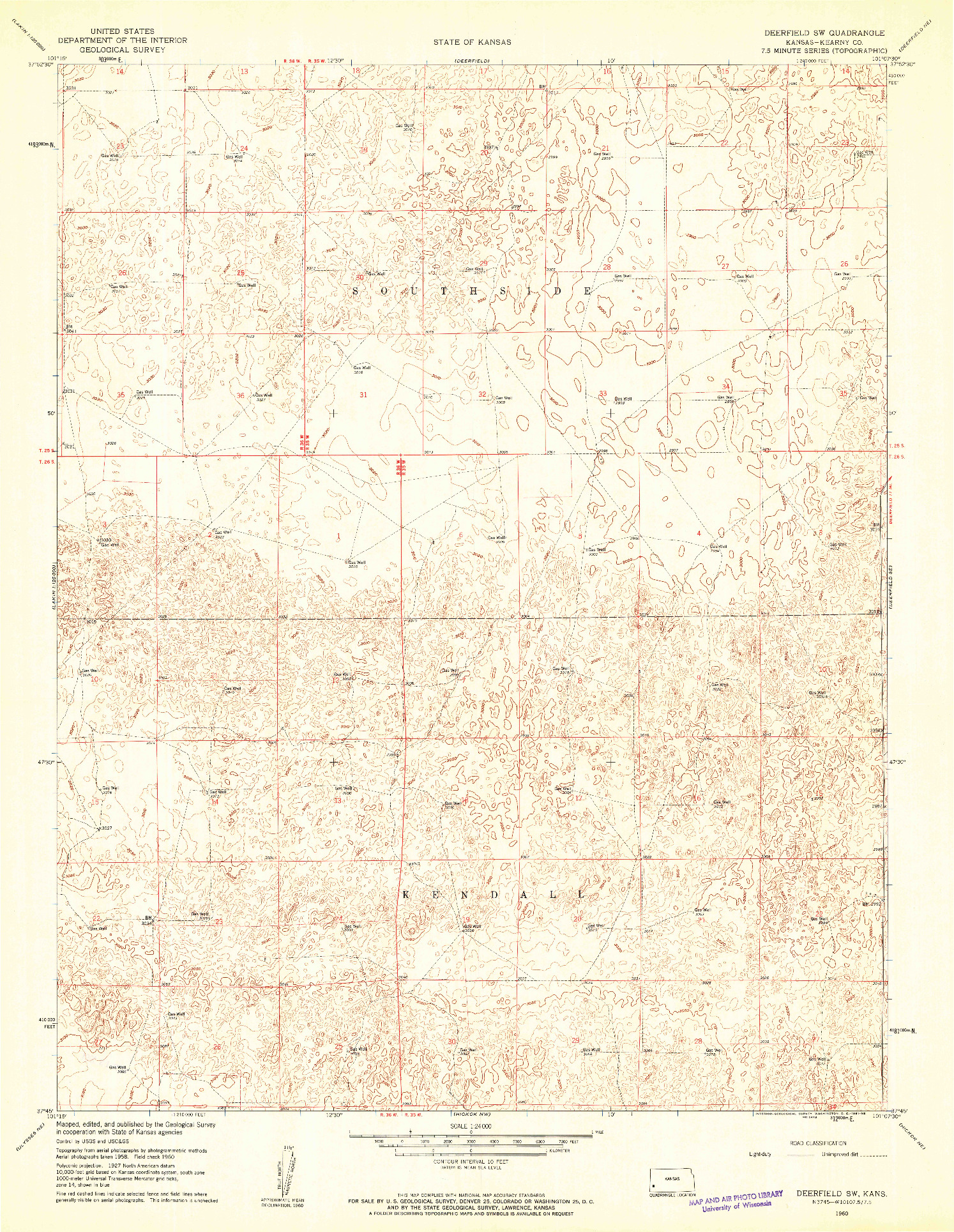 USGS 1:24000-SCALE QUADRANGLE FOR DEERFIELD SW, KS 1960