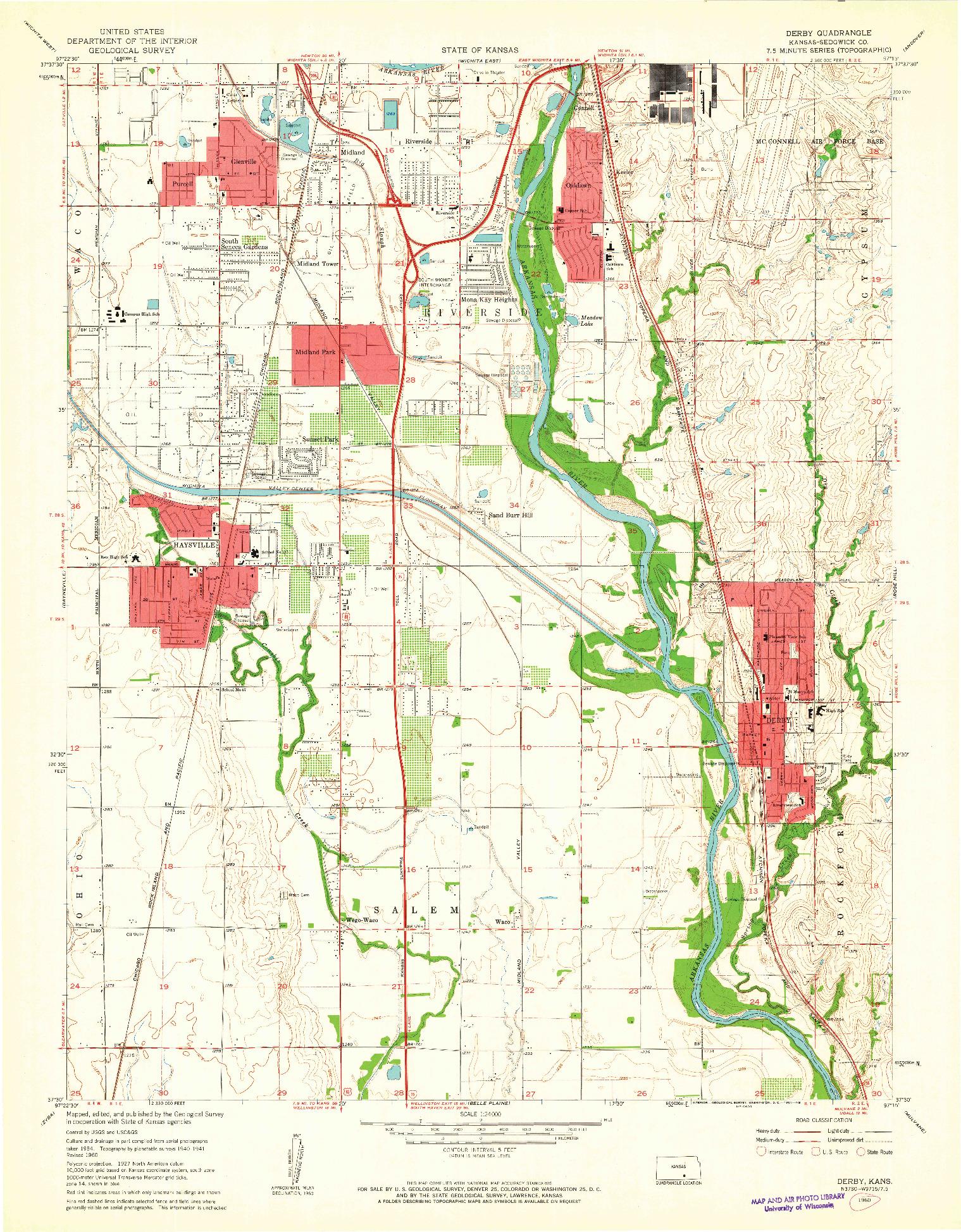 USGS 1:24000-SCALE QUADRANGLE FOR DERBY, KS 1960