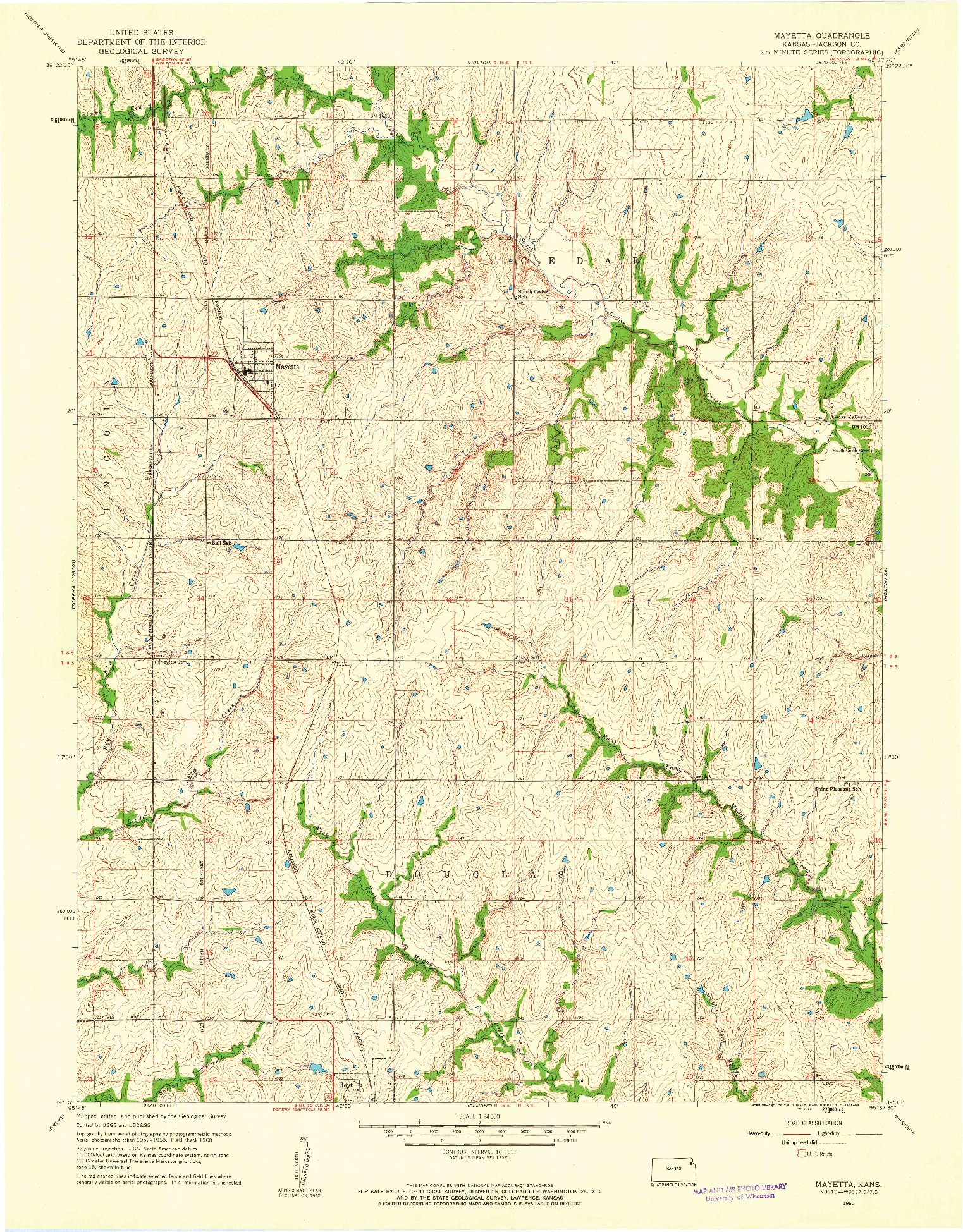 USGS 1:24000-SCALE QUADRANGLE FOR MAYETTA, KS 1960