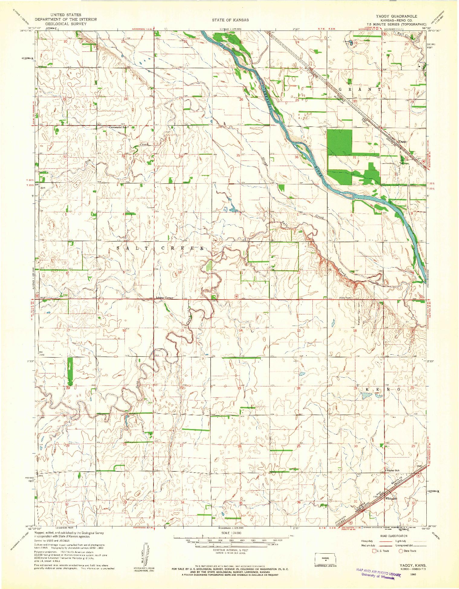 USGS 1:24000-SCALE QUADRANGLE FOR YAGGY, KS 1960
