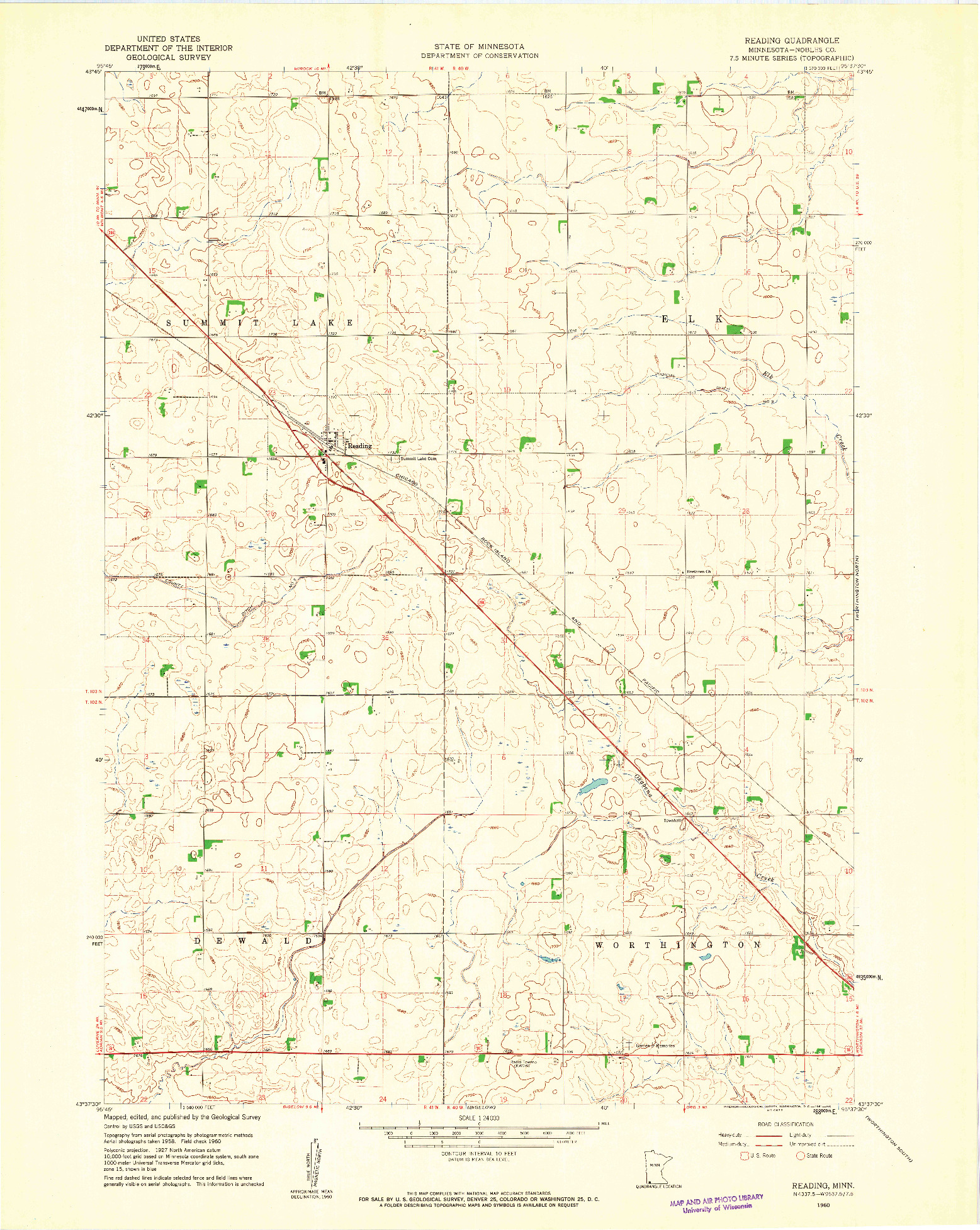USGS 1:24000-SCALE QUADRANGLE FOR READING, MN 1960