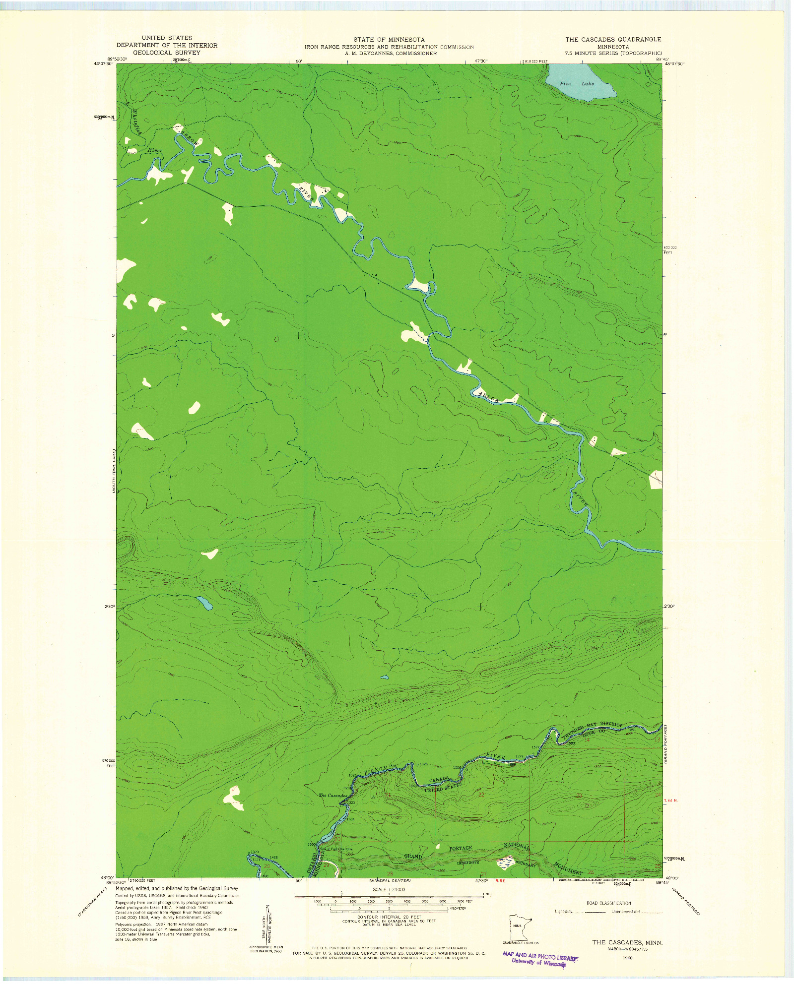 USGS 1:24000-SCALE QUADRANGLE FOR THE CASCADES, MN 1960
