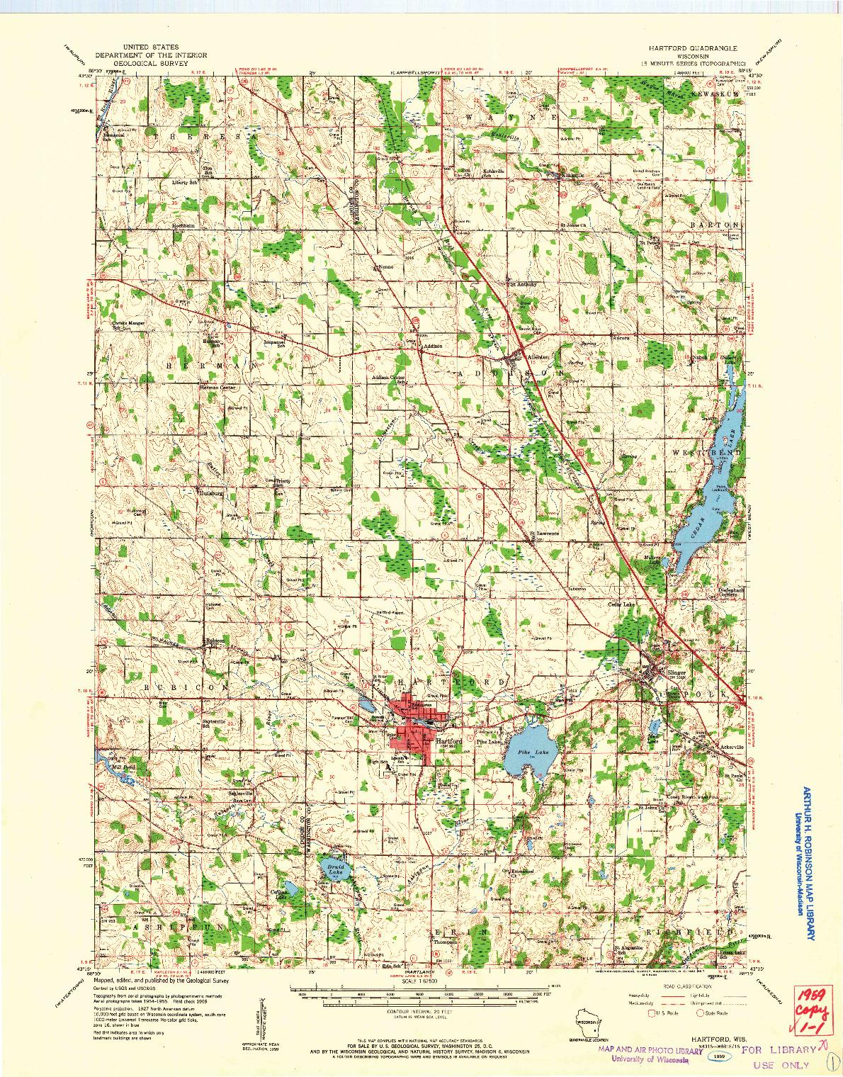 USGS 1:62500-SCALE QUADRANGLE FOR HARTFORD, WI 1959