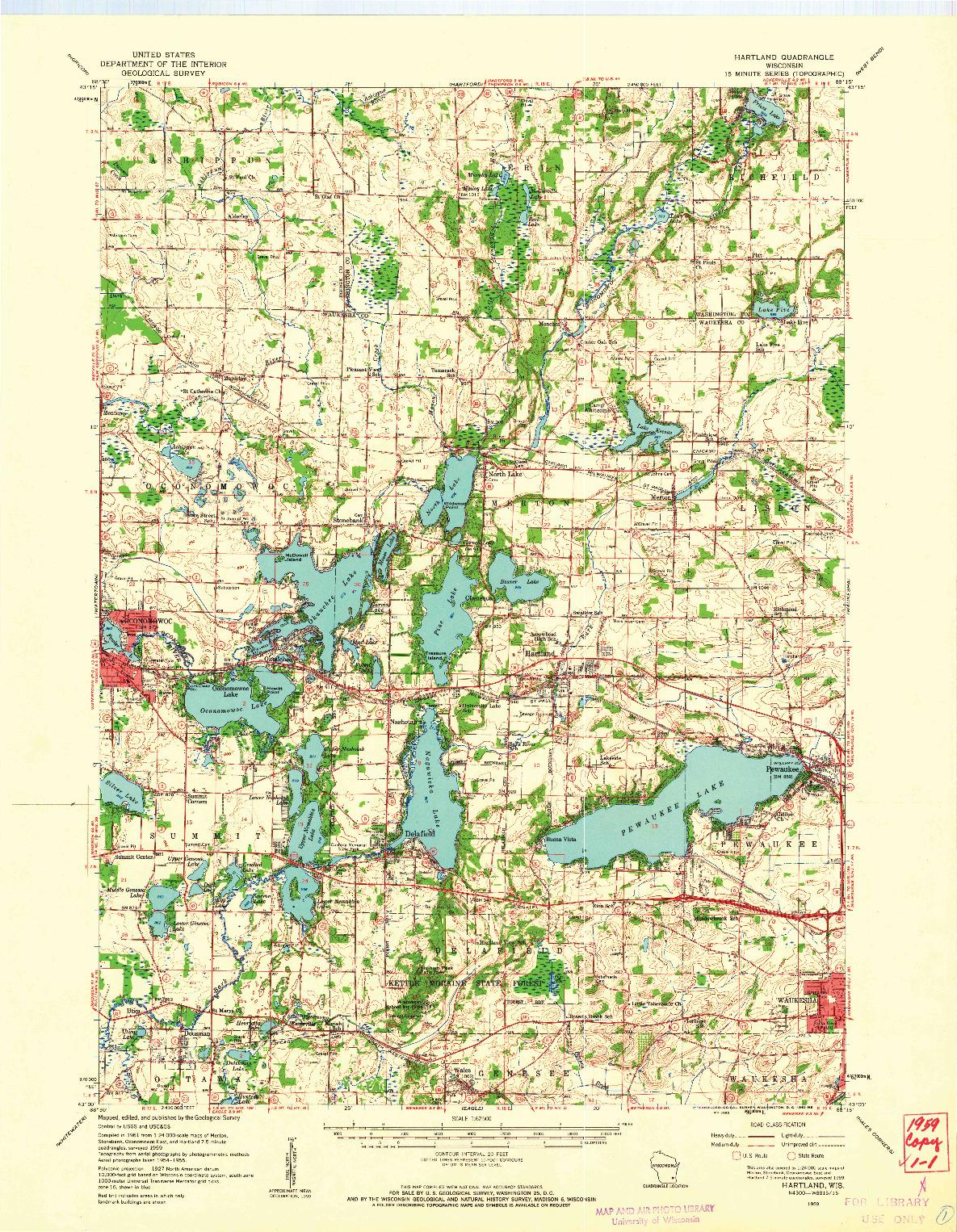 USGS 1:62500-SCALE QUADRANGLE FOR HARTLAND, WI 1959