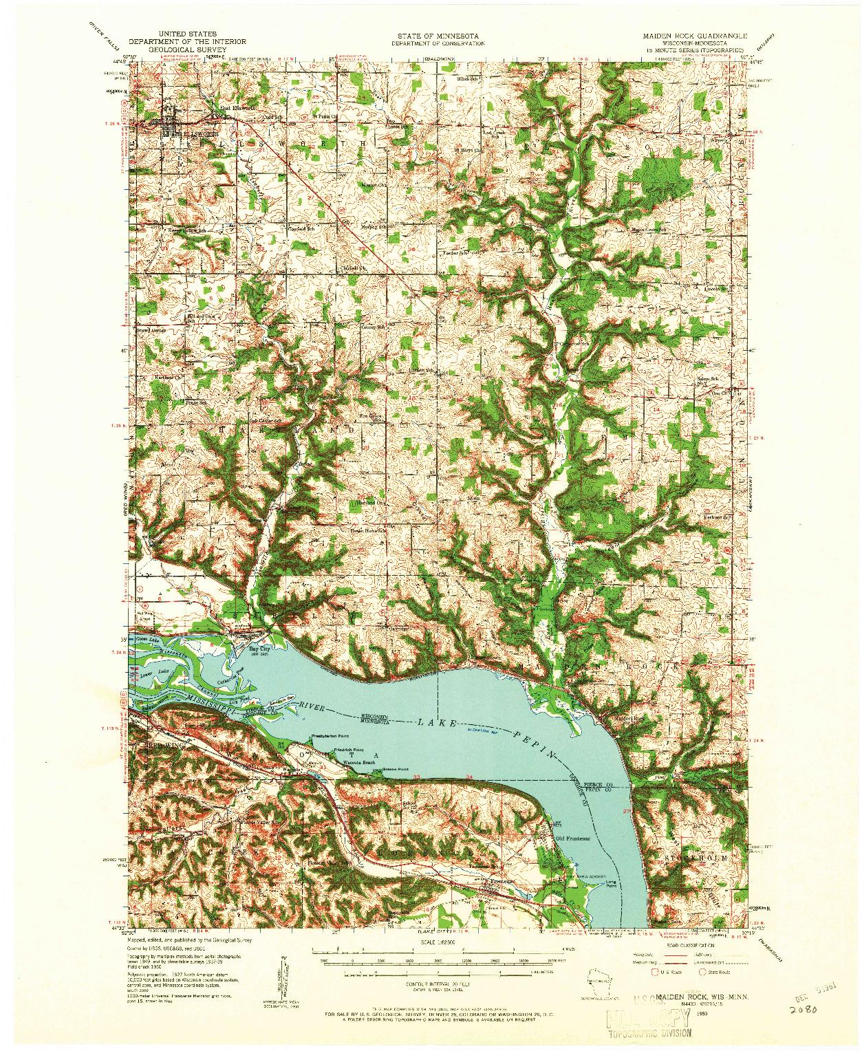 USGS 1:62500-SCALE QUADRANGLE FOR MAIDEN ROCK, WI 1950
