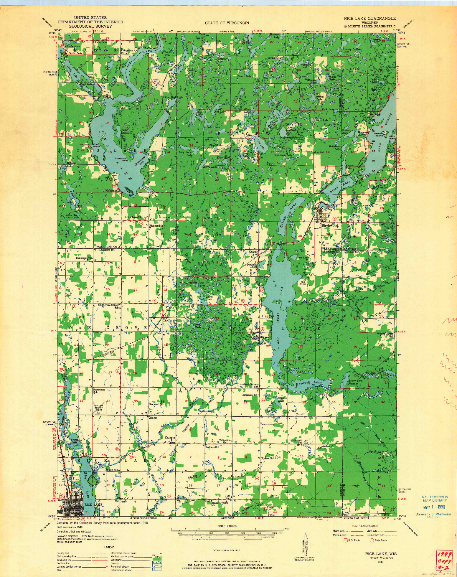 USGS 1:48000-SCALE QUADRANGLE FOR RICE LAKE, WI 1949