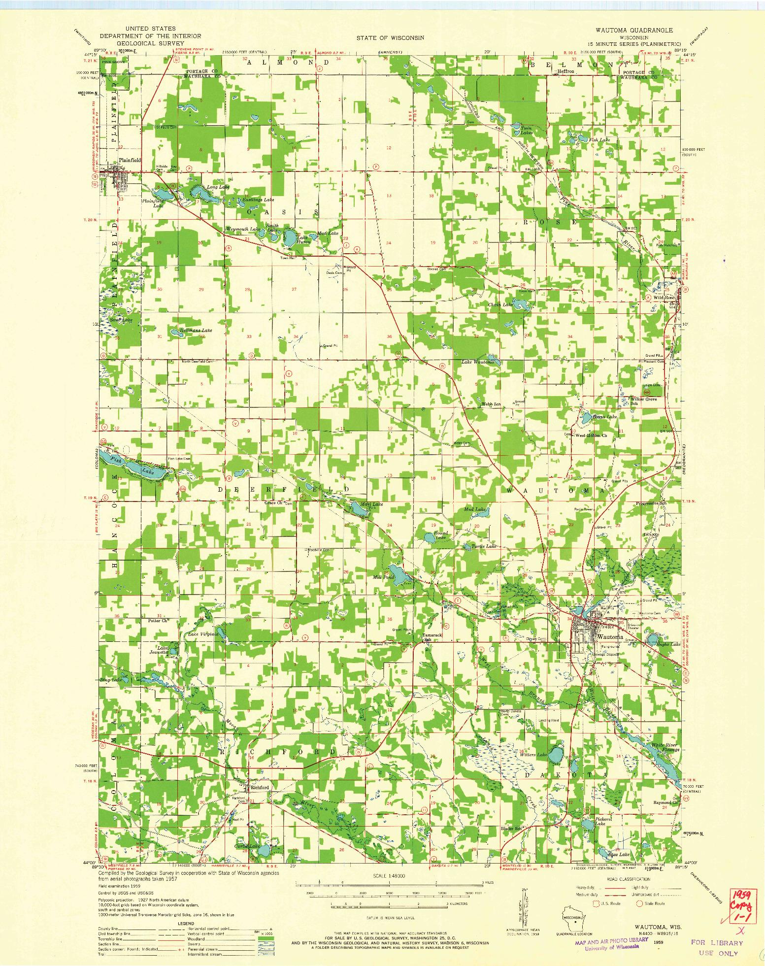 USGS 1:48000-SCALE QUADRANGLE FOR WAUTOMA, WI 1959