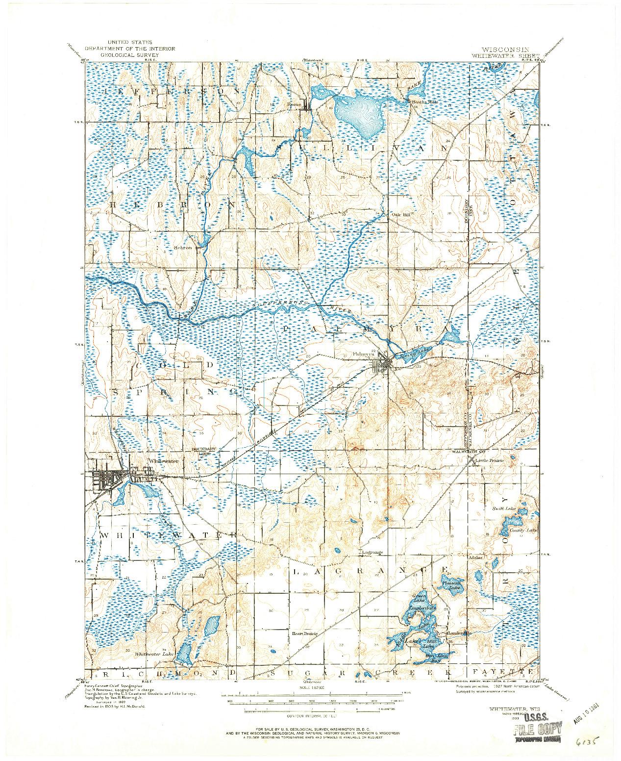 USGS 1:62500-SCALE QUADRANGLE FOR WHITEWATER, WI 1903