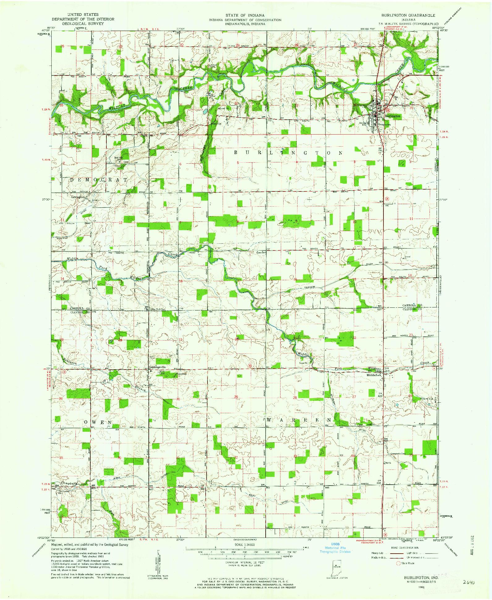 USGS 1:24000-SCALE QUADRANGLE FOR BURLINGTON, IN 1961