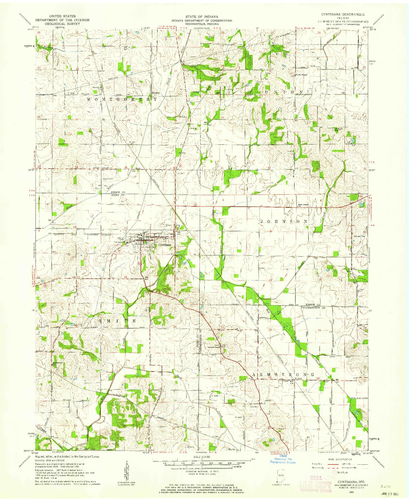 USGS 1:24000-SCALE QUADRANGLE FOR CYNTHIANA, IN 1961