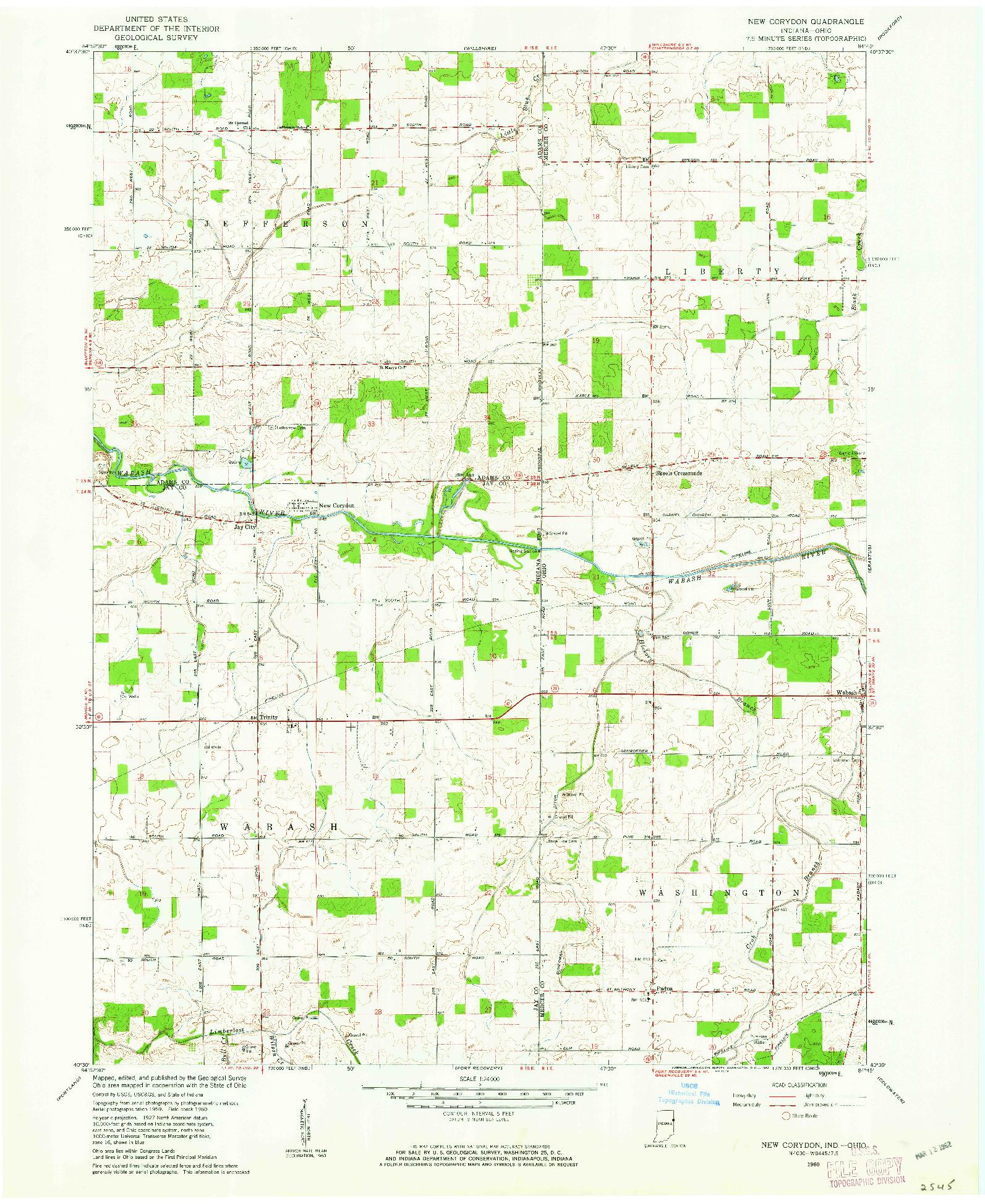 USGS 1:24000-SCALE QUADRANGLE FOR NEW CORYDON, IN 1960