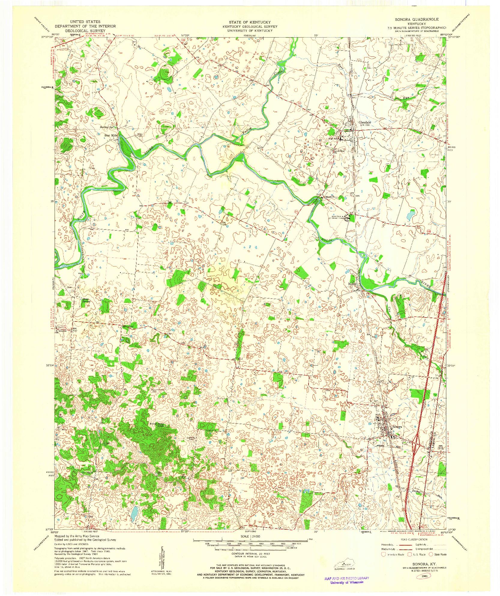 USGS 1:24000-SCALE QUADRANGLE FOR SONORA, KY 1961